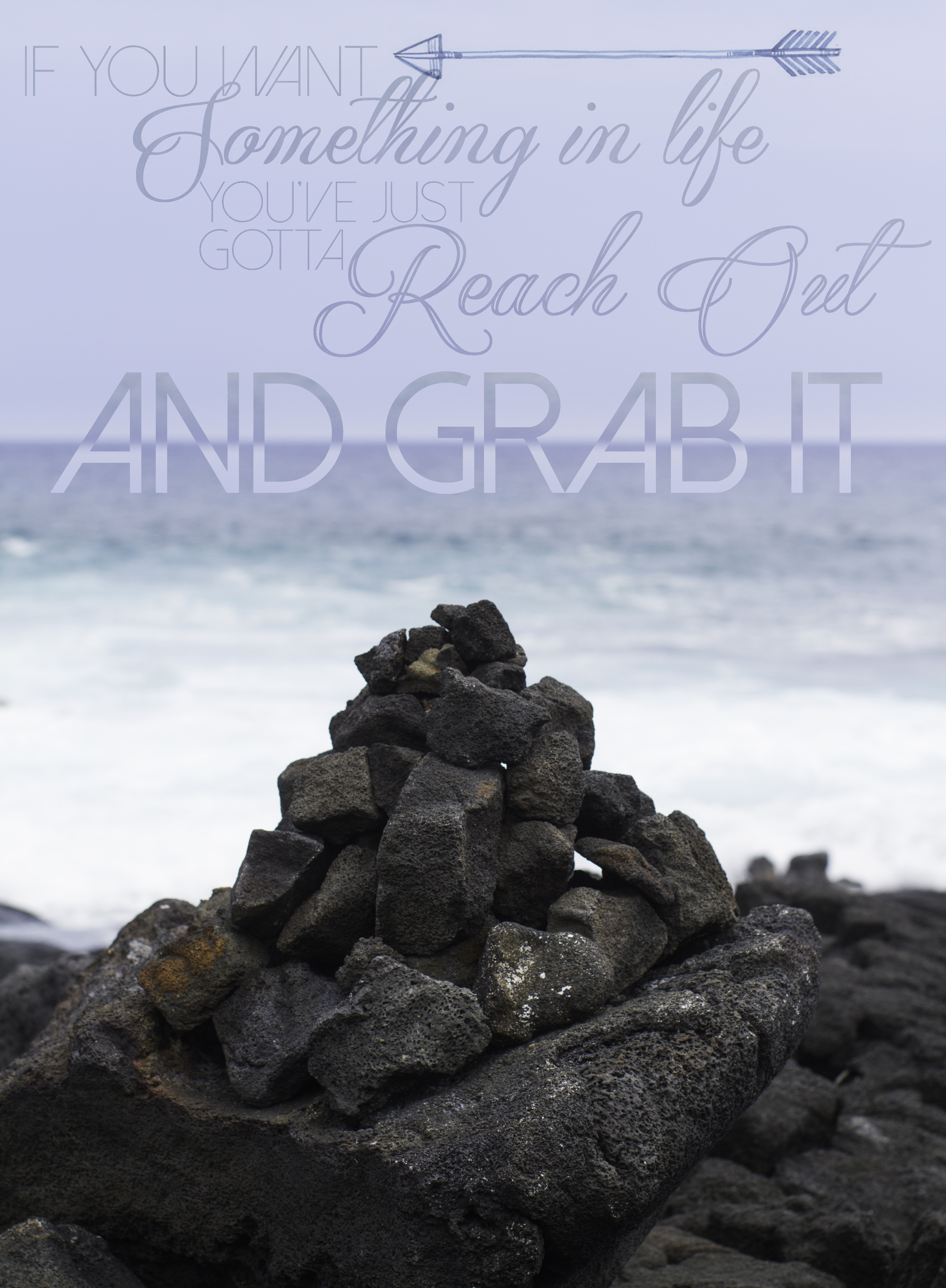This is a cairn that I built on the shores in Hawaii. We were asking God to direct us in prayer and photography, and He told me to build a cairn, which is just a pile of rocks that guides hikers on the trail. It gives them direction. God wants us to pray for direction instead of just trying to figure it out ourselves, but He can't do much if we refuse to get up.