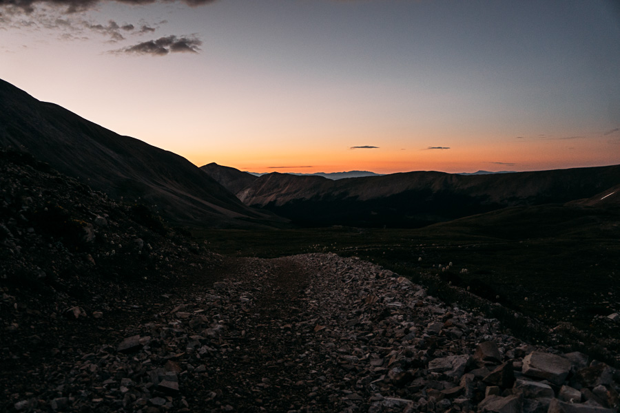 We watched the slow sunrise from the trail. I think I could have driven my Subaru further up. It is a Jeep trail, but it looked very well maintained and relatively flat.