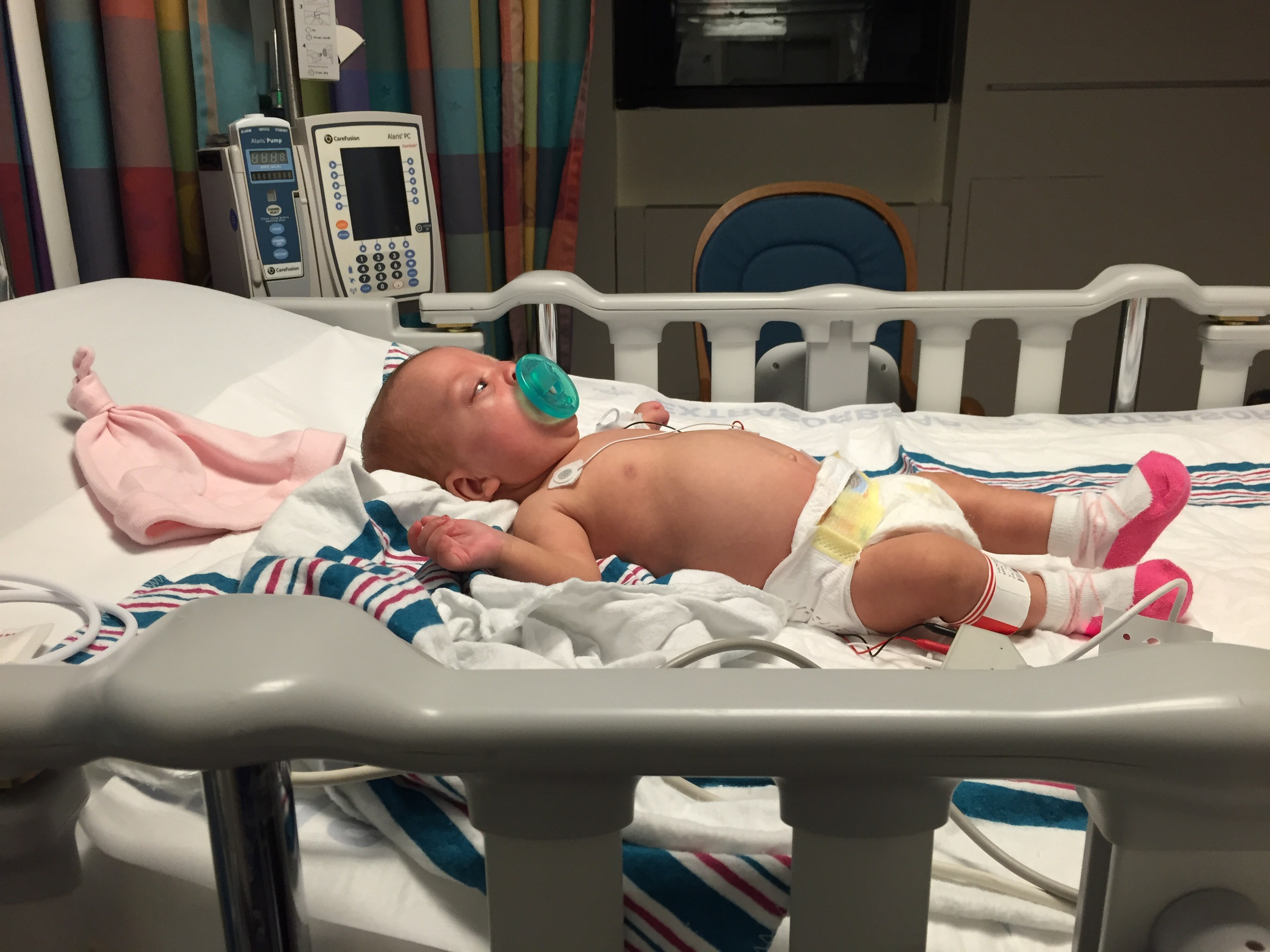 Settling in to her crib in the PICU.