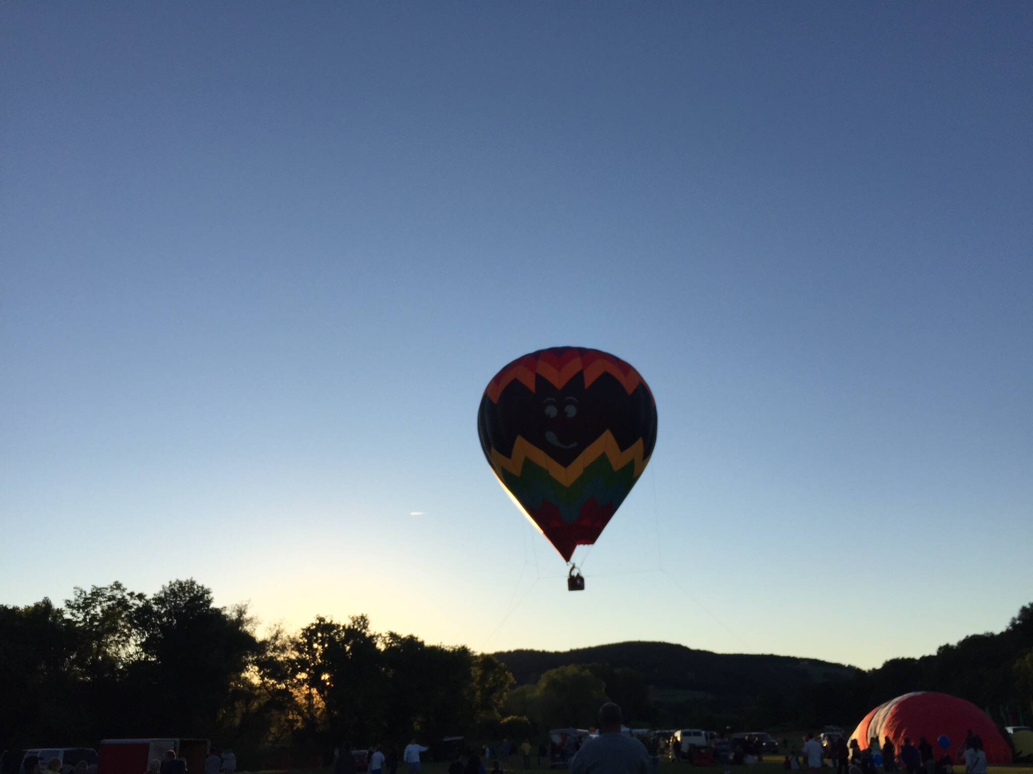 We were excited to find out an annual hot air balloon festival was being held one town over from where we stayed in VT. It was too windy for them to ascend untethered, but it was still pretty cool!
