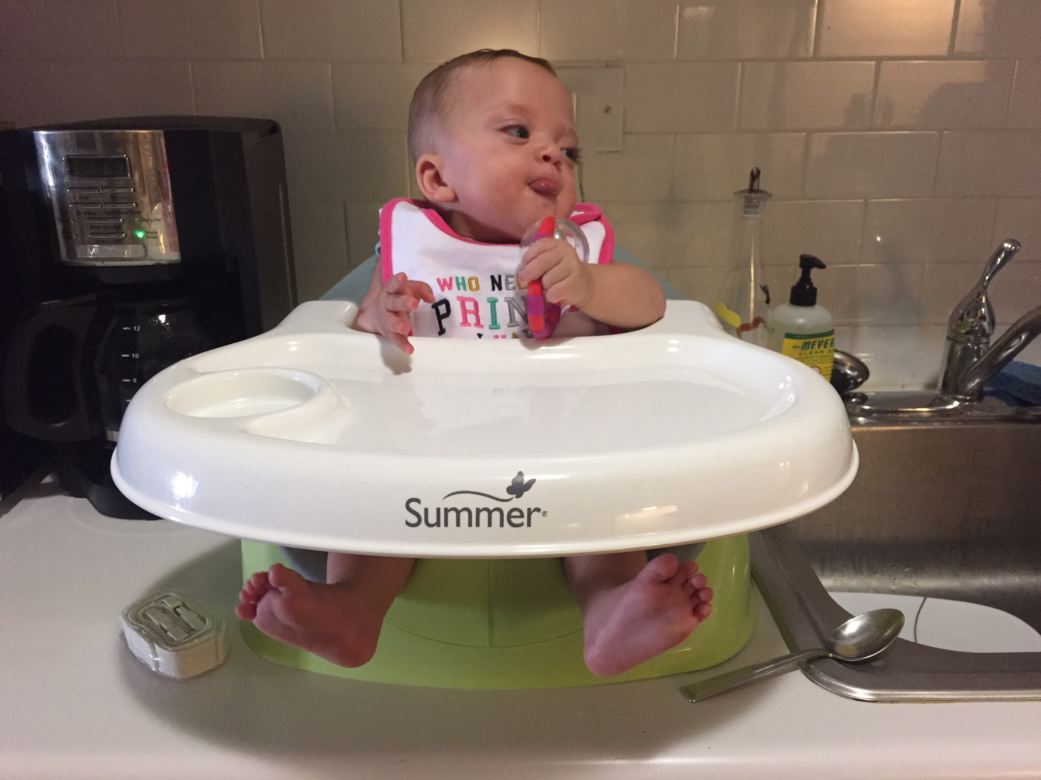 Trying out this sweet new seat in preparation for starting solids soon!
