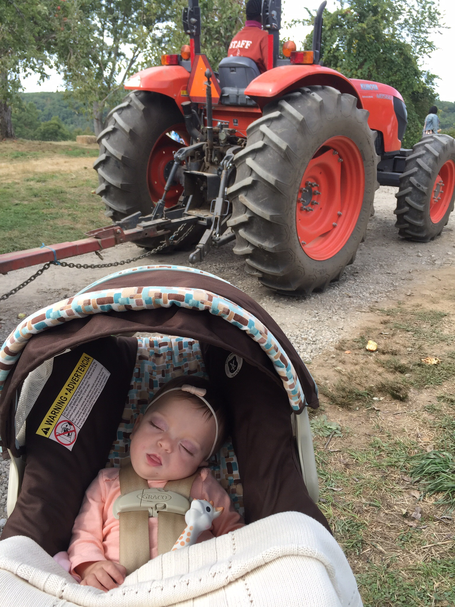 Not even a tractor driving by could wake this girl up!