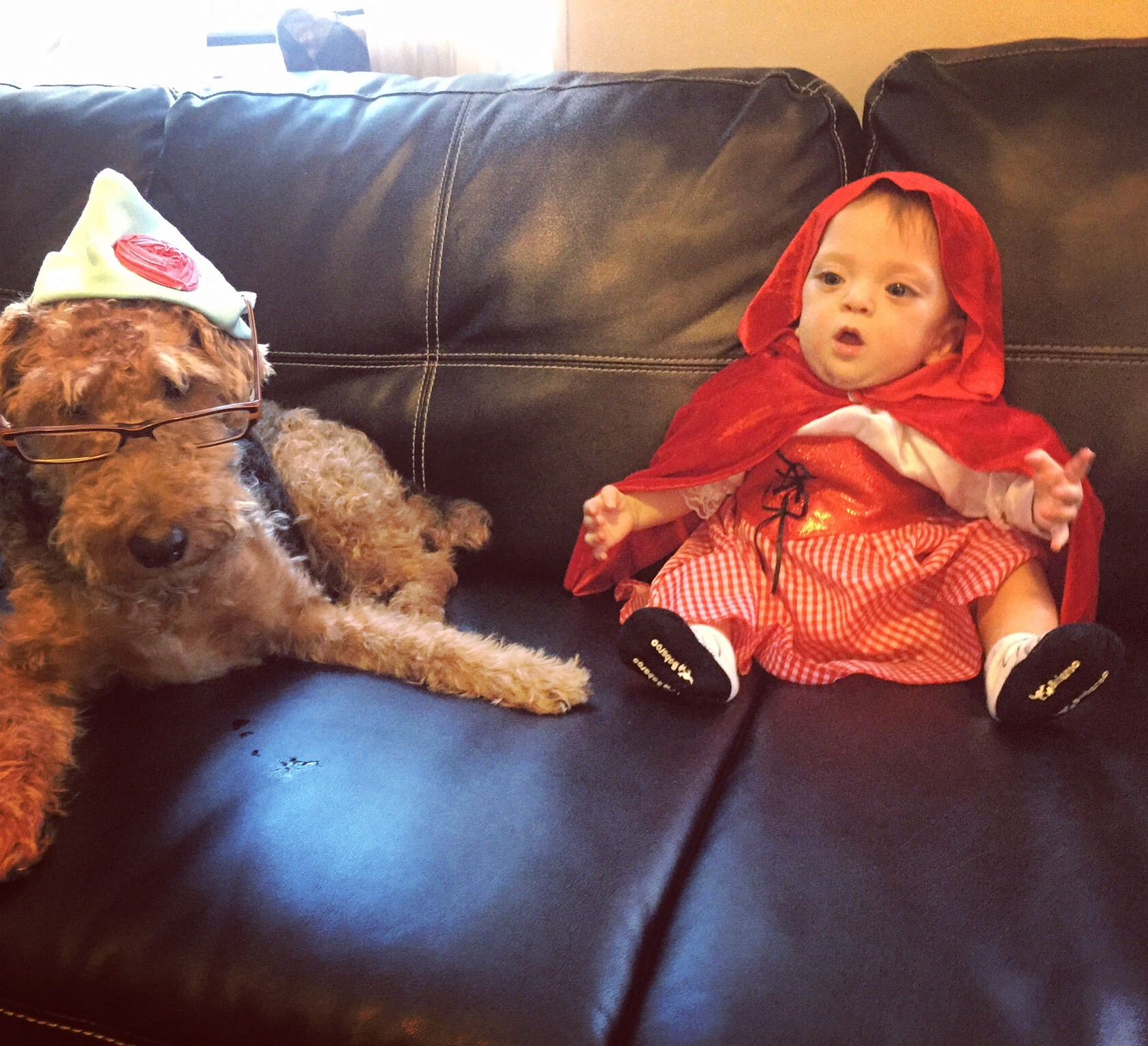 "Happy Halloween from Little Red Riding Hood and ""Grandmother"" Bess"