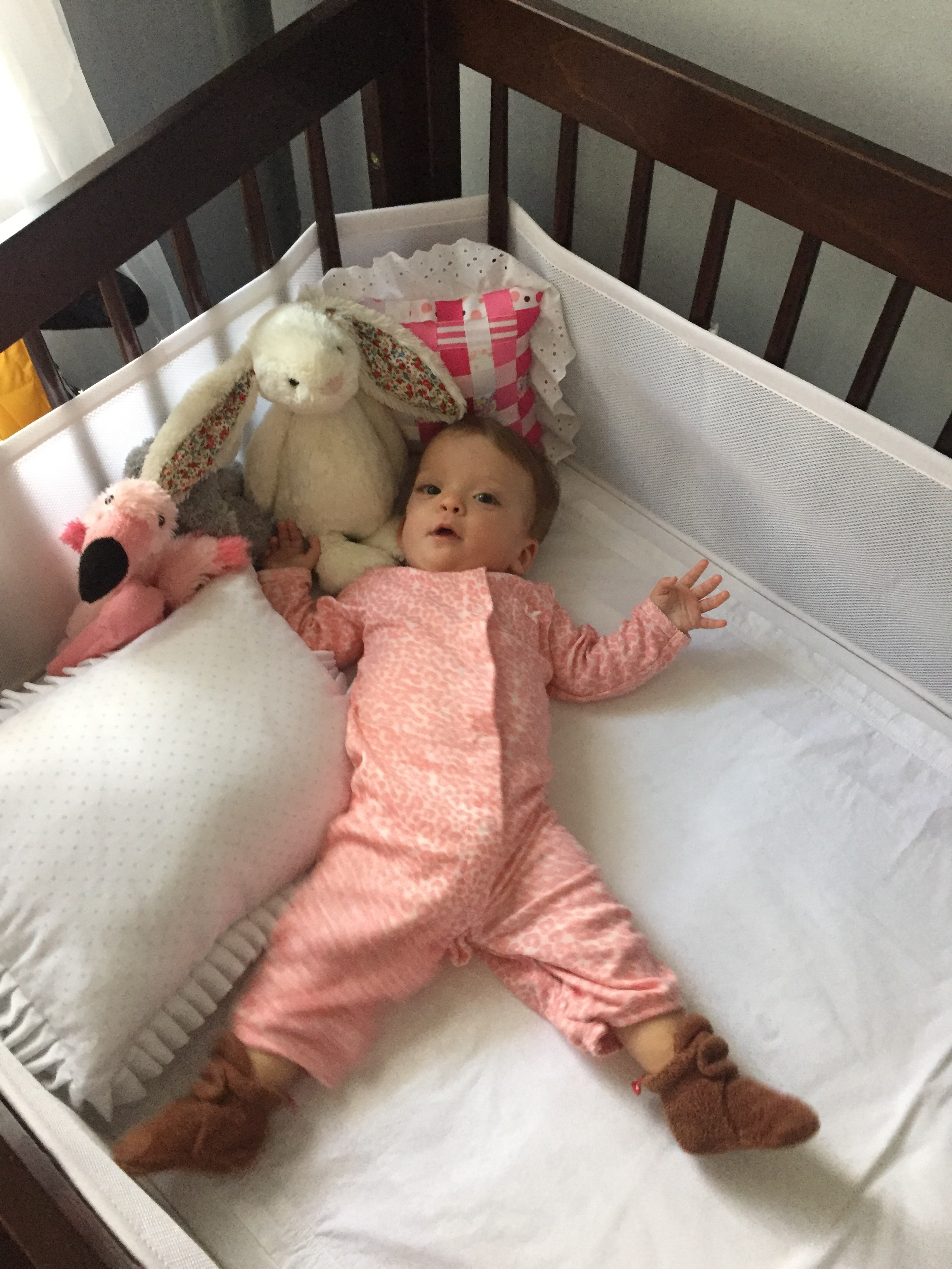Lucie scooched to the other end of her crib to play with her throw pillows and stuffed animals. (Felix the Falmingo, Eleanor the Elephant and Boonches Bonita the Bunny.)