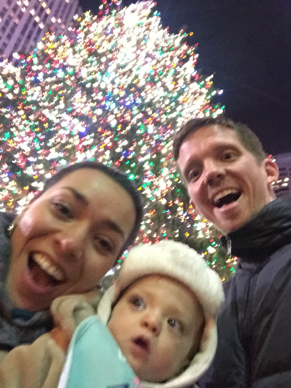 Blurry selfie at Rockefeller Center