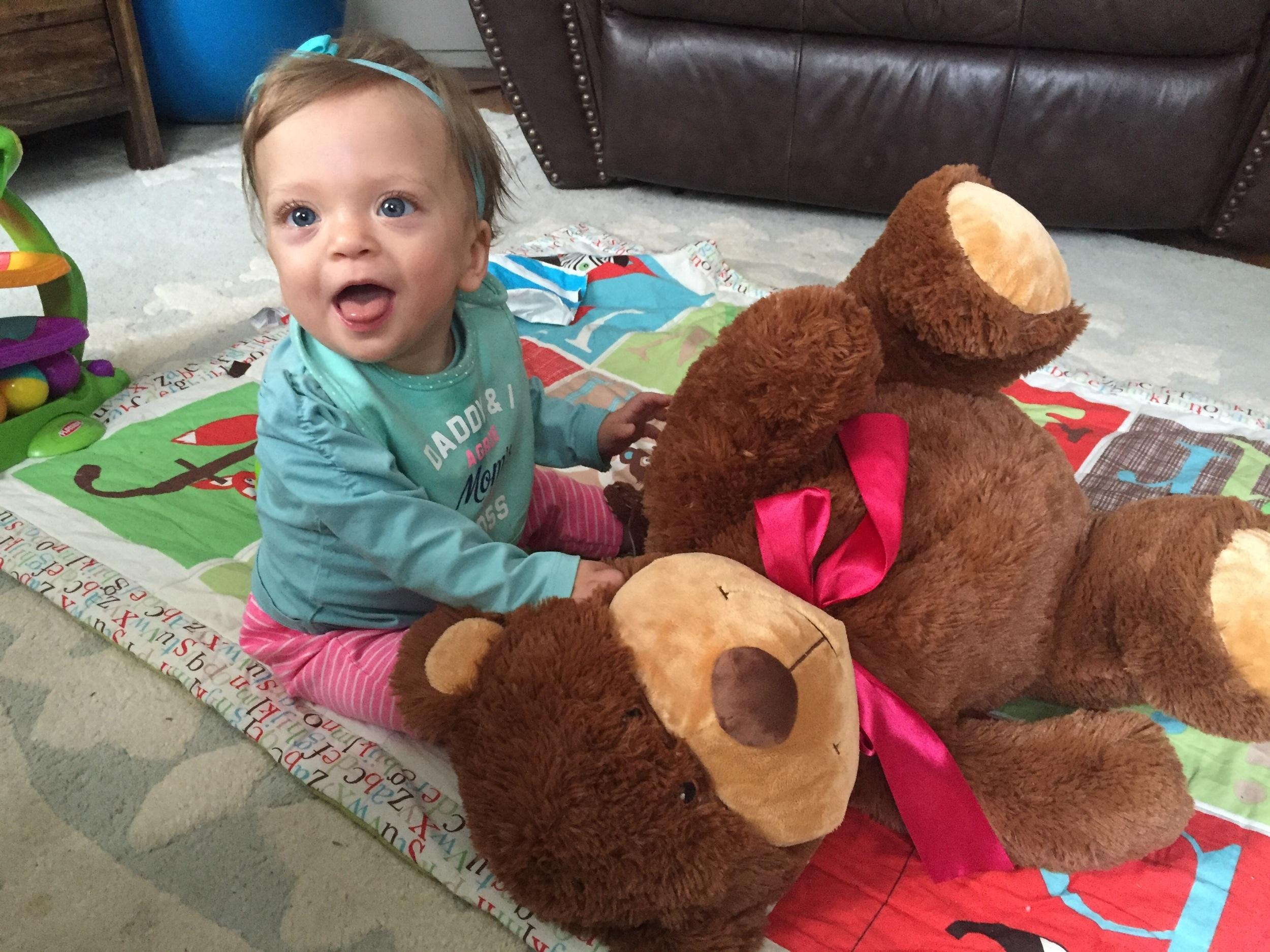 Lucie loves Mr. Bear.