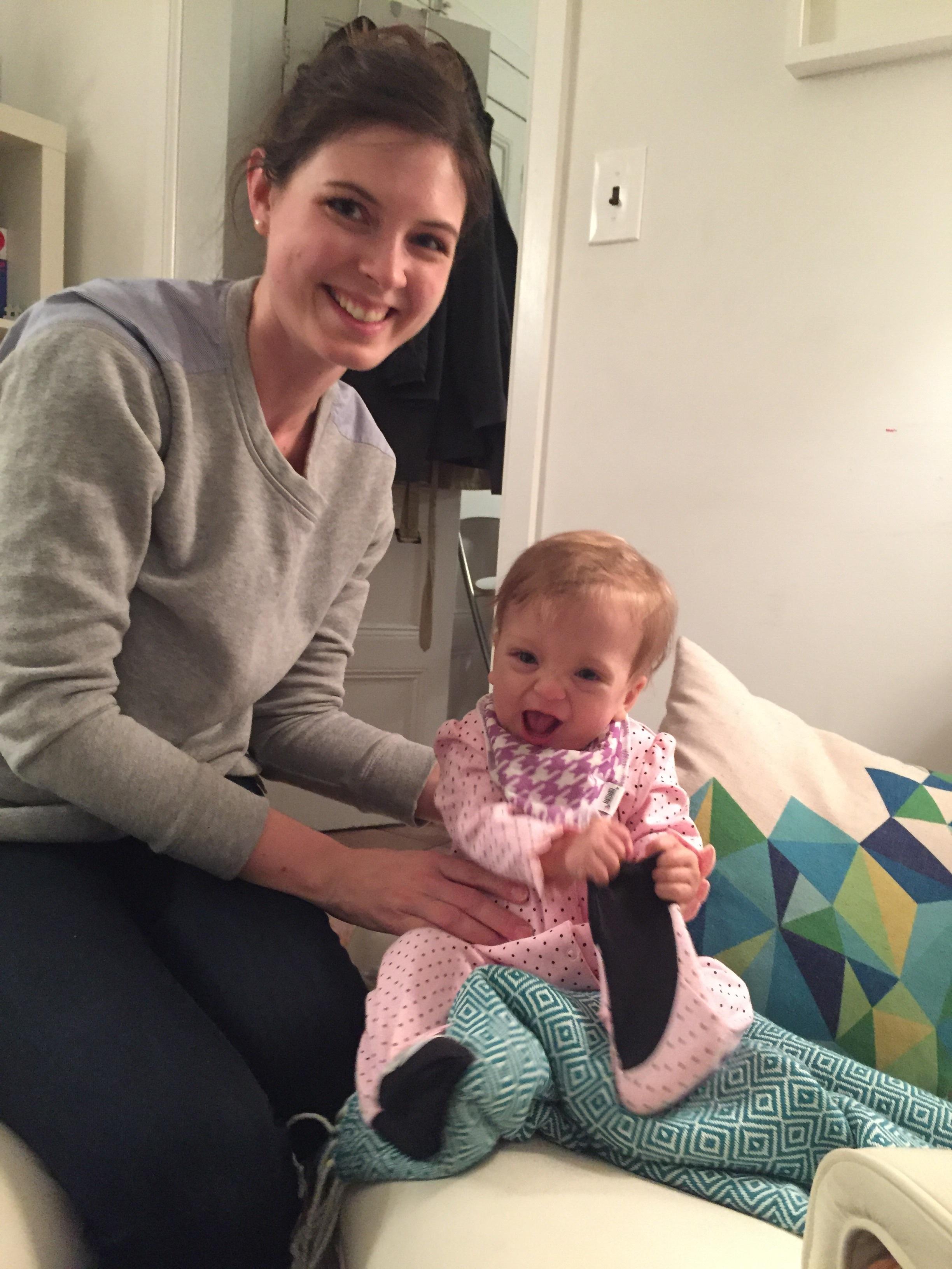 Showing off her ballerina booties to Aunt Katie