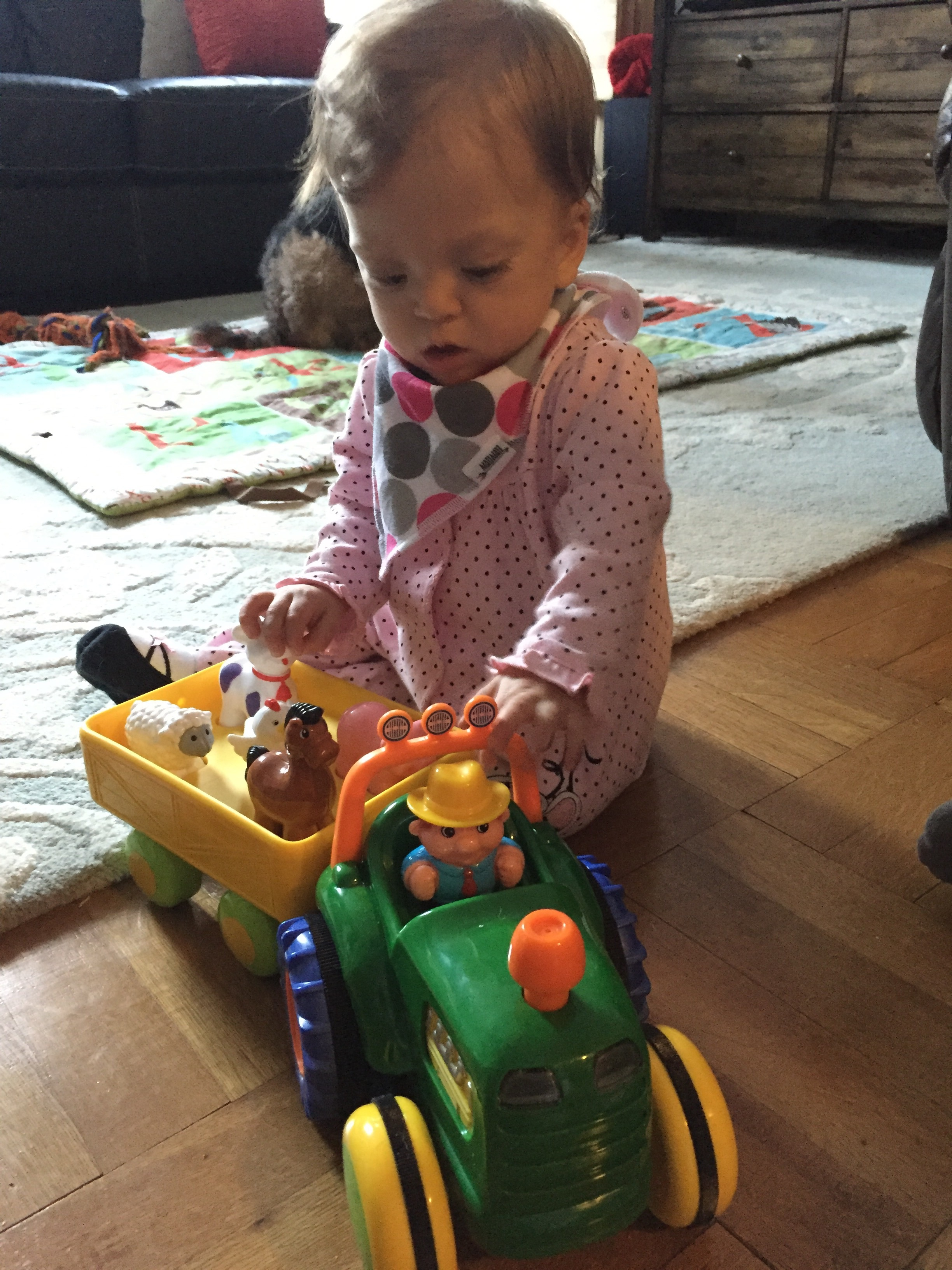 Loves her new tractor toy from her God Nurse. It's LOUD... thanks Jess!