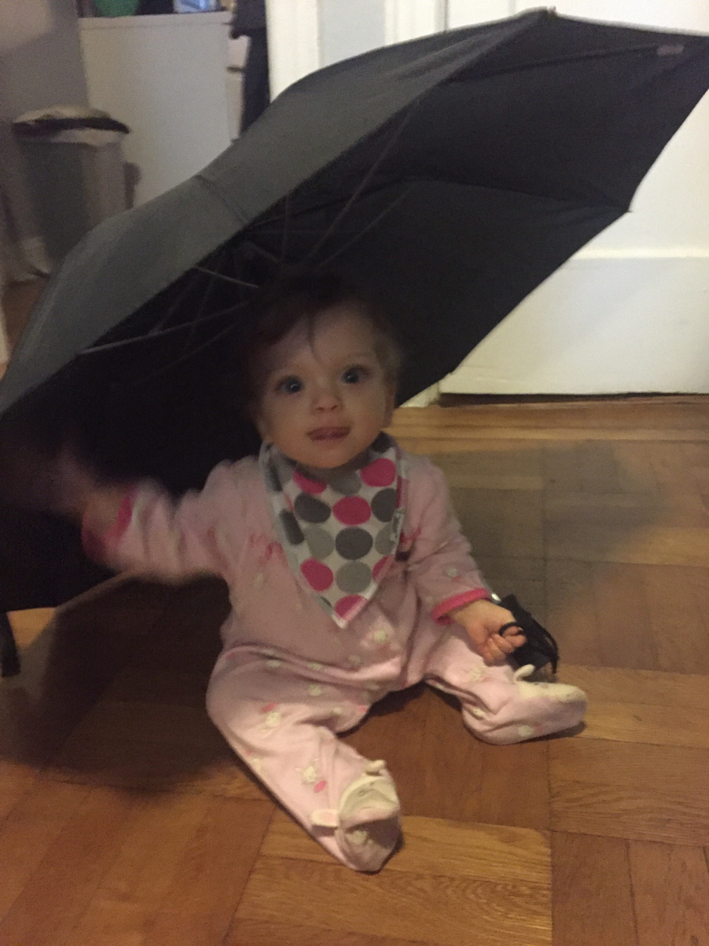 Found mommy's umbrella drying and HAD to check it out!