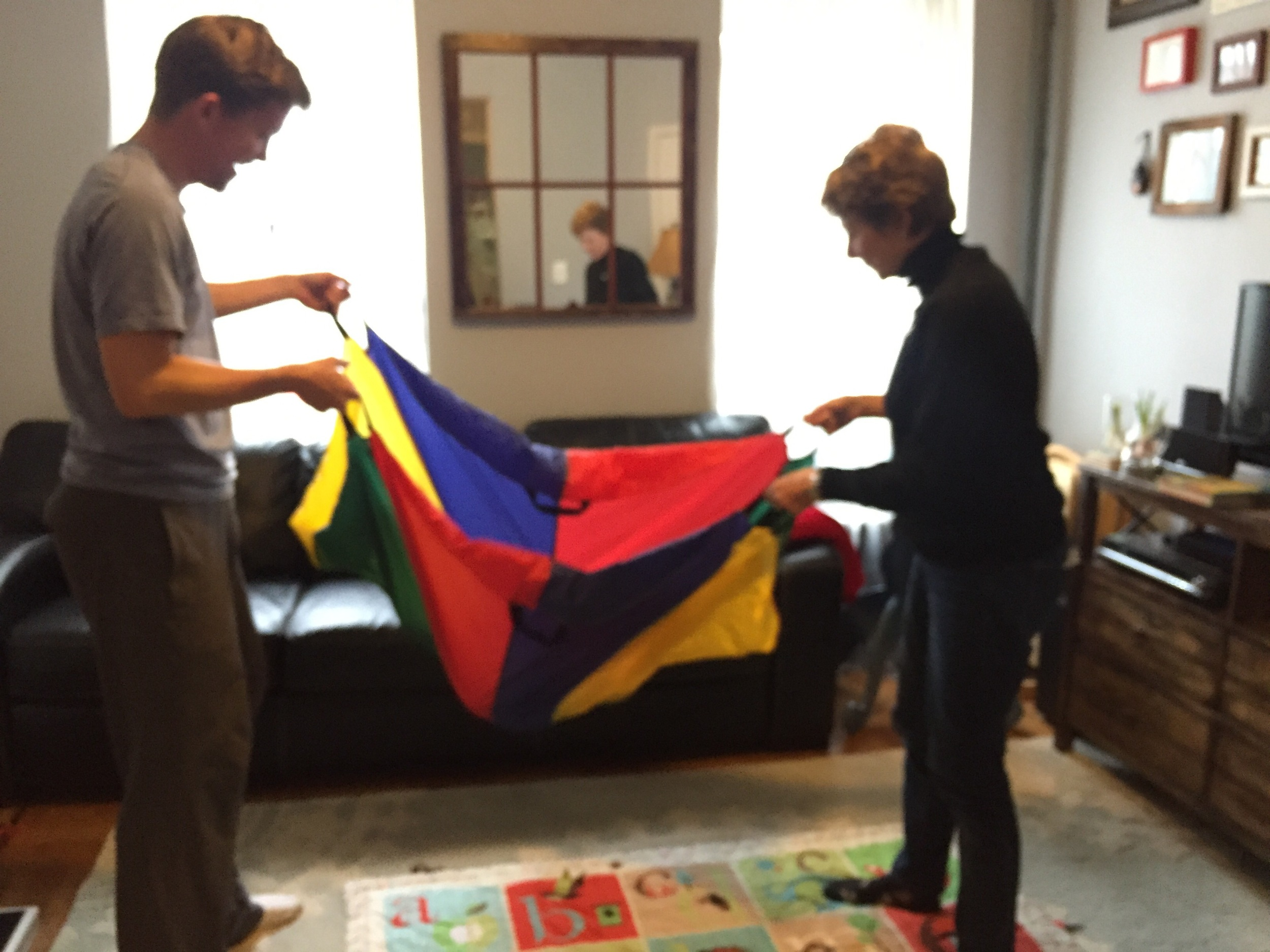 Using a parachute at therapy.