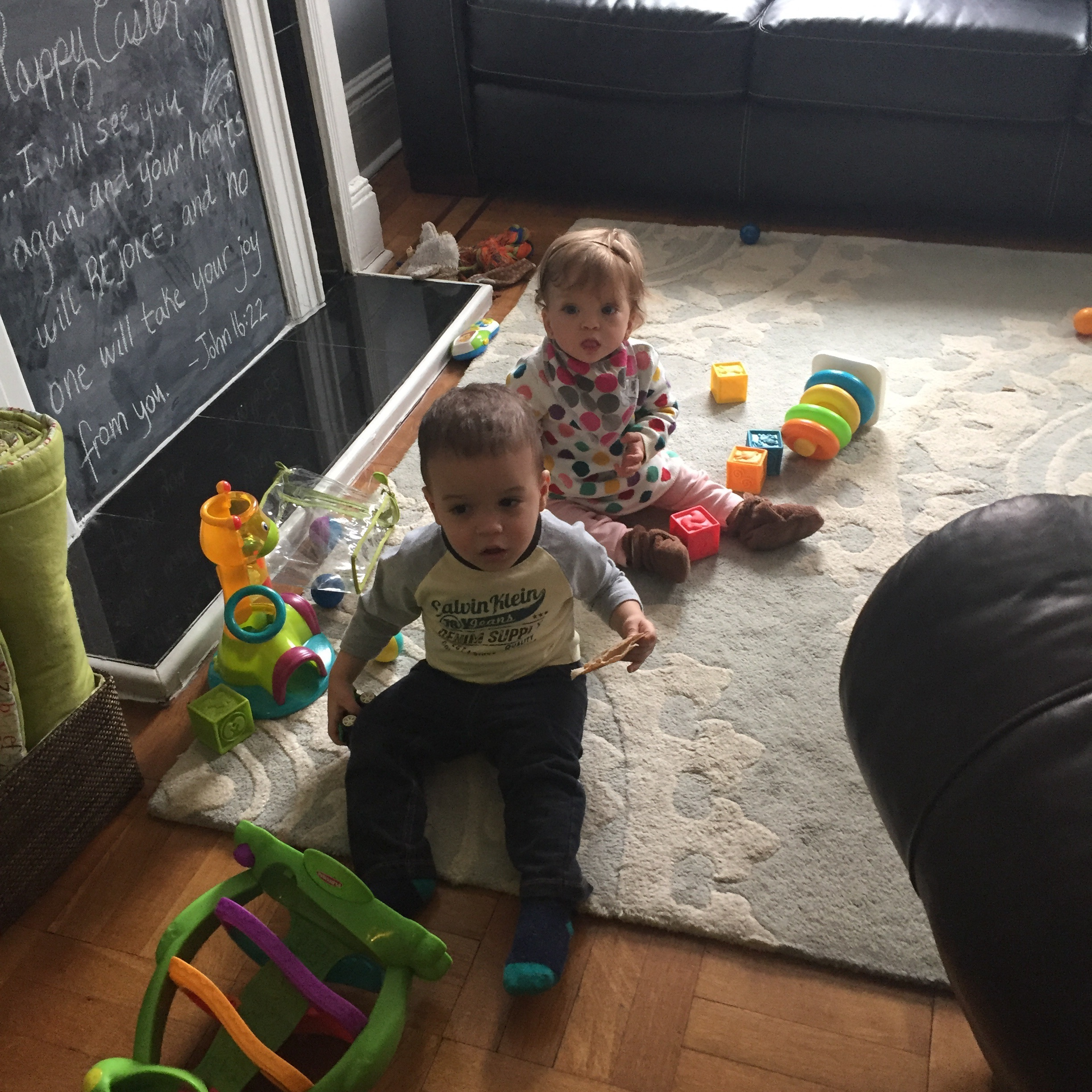 Lucie playing with Lucas
