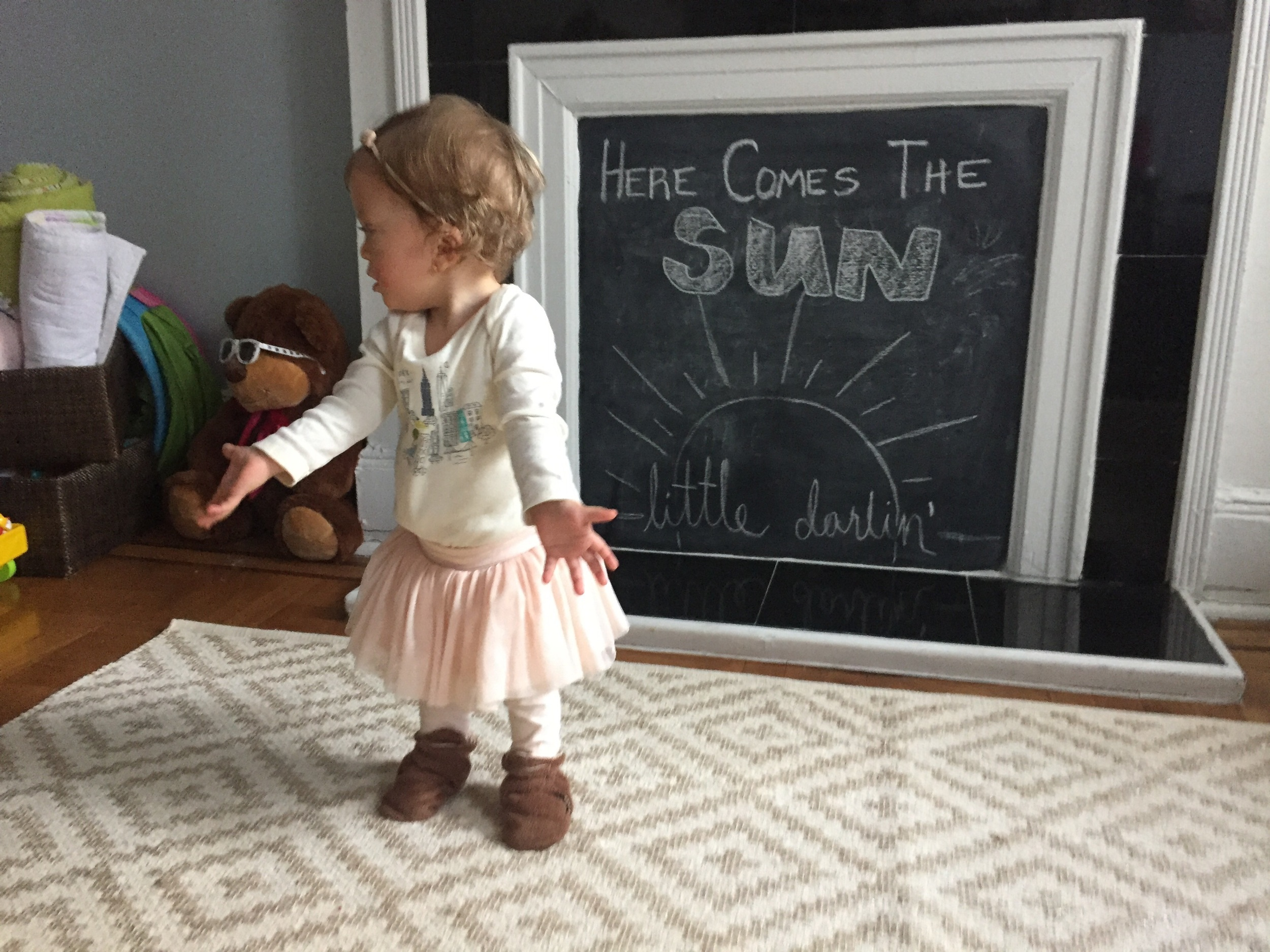 Haven't stopped singing this song from The Beatles, thinking about this time last year when we were overjoyed to bring Lucie home.  So of course, we had to put it on the chalk board, and then that called for a photo shoot, obviously.    In this photo, Lucie is wondering where Bess is.