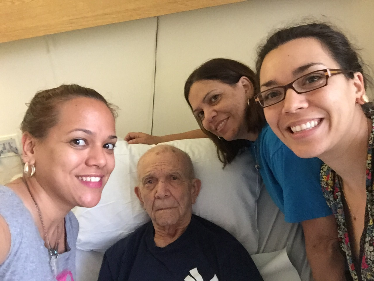 Mom in FL for a quick trip.  Visiting Grandpa Raul in the Rehab Clinic where he's recovering from a partial hip replacement.