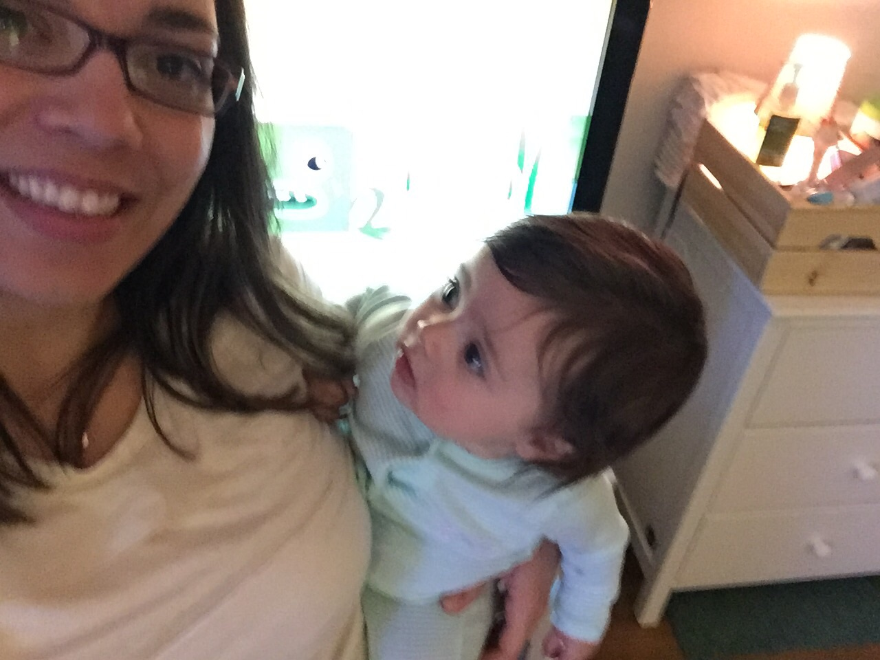 """Drea babysitting Elle, who's thinking, """"Hey, you're not my mommy..."""" So thankful for our friends who have partnered up with us on a babysitting rotation so that we can swap out watching each other's kiddos and make time for date nights with our spouses."""
