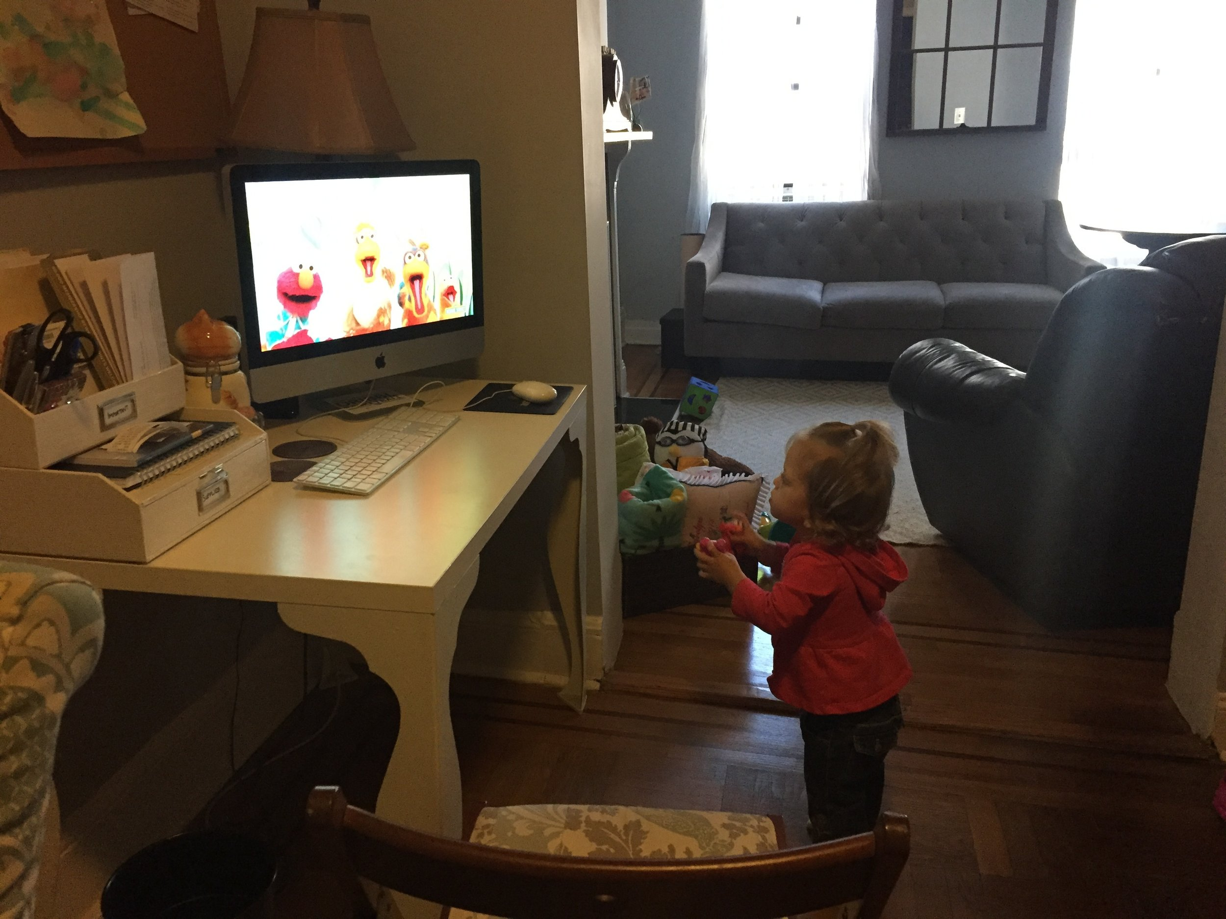 Grandma and Abo got Lucie a toy with Elmo and Abby and she LOOOOVES them. Every once in a while we watch YouTube videos of Elmo, she grabs her toys and dances along to the songs with them.