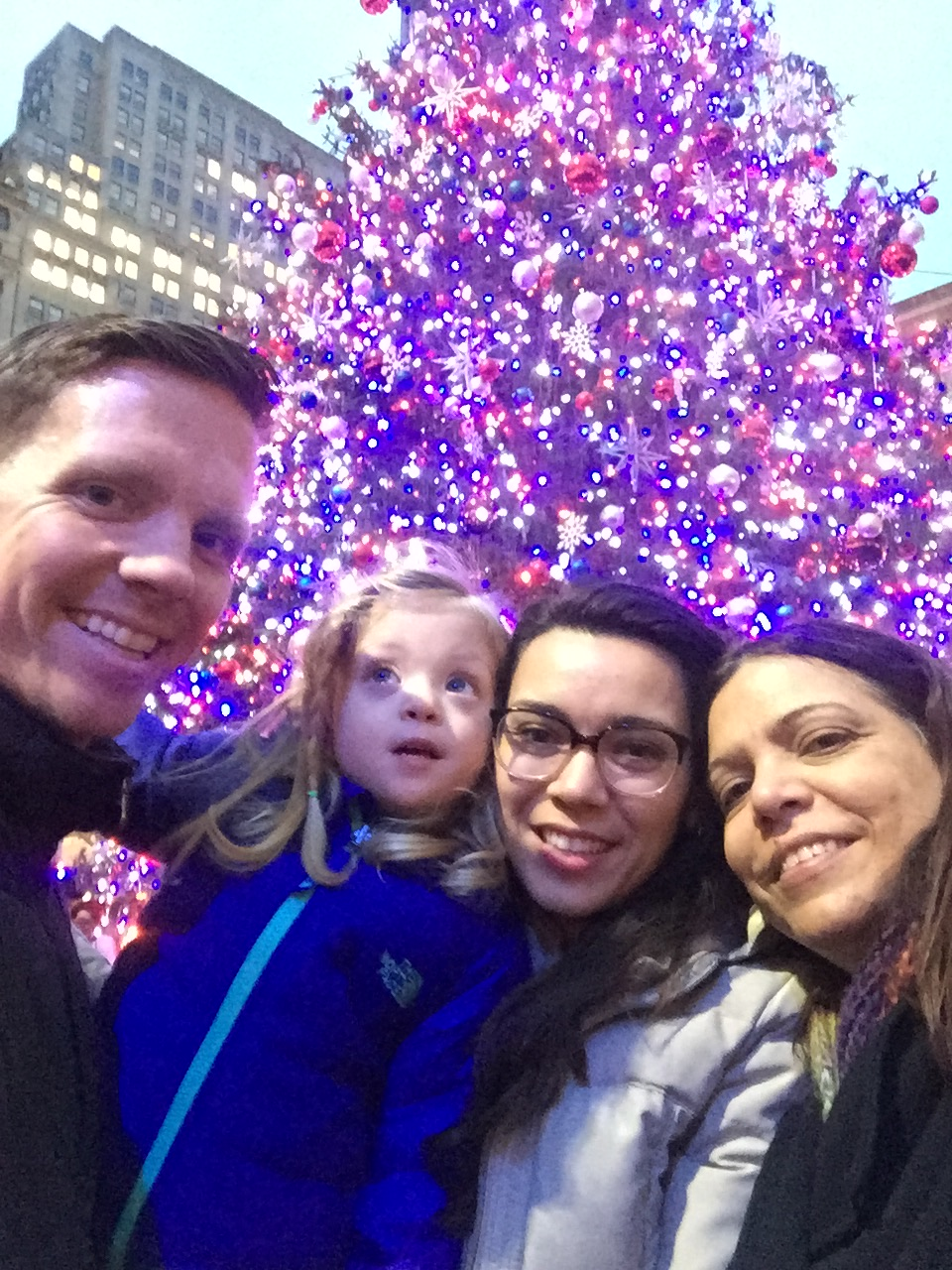 Abuela arrived just in time to soak up all things NYC Christmas. This is us at Bryant Park in front of the Christmas Tree.