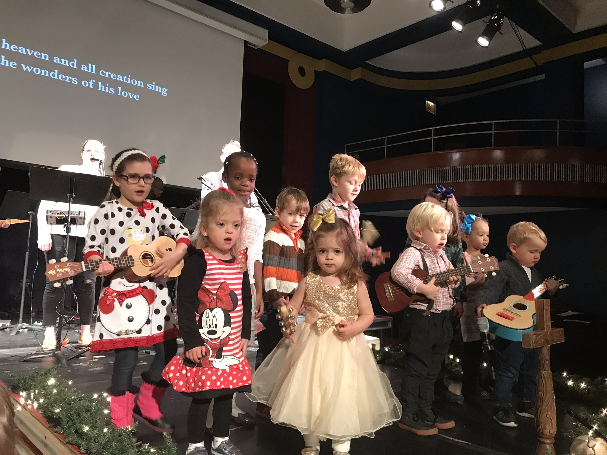 The kids sang at church that Sunday. Lucie and her bestie, Elle weren't the biggest fans of having to perform, even though they both love the song and still sing it.