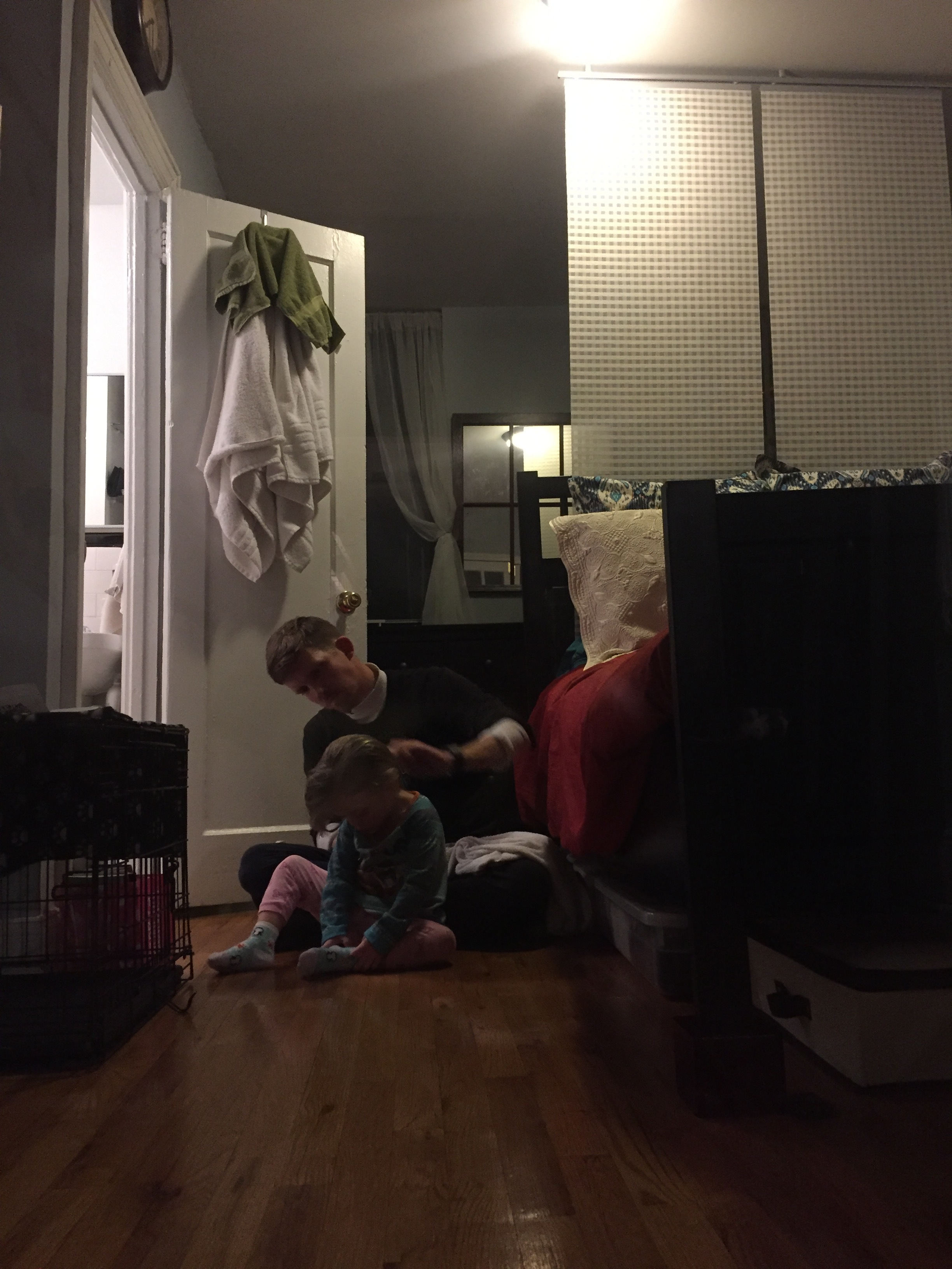 Just a regualr night. Daddy brushing Lucie's hair after her bath.