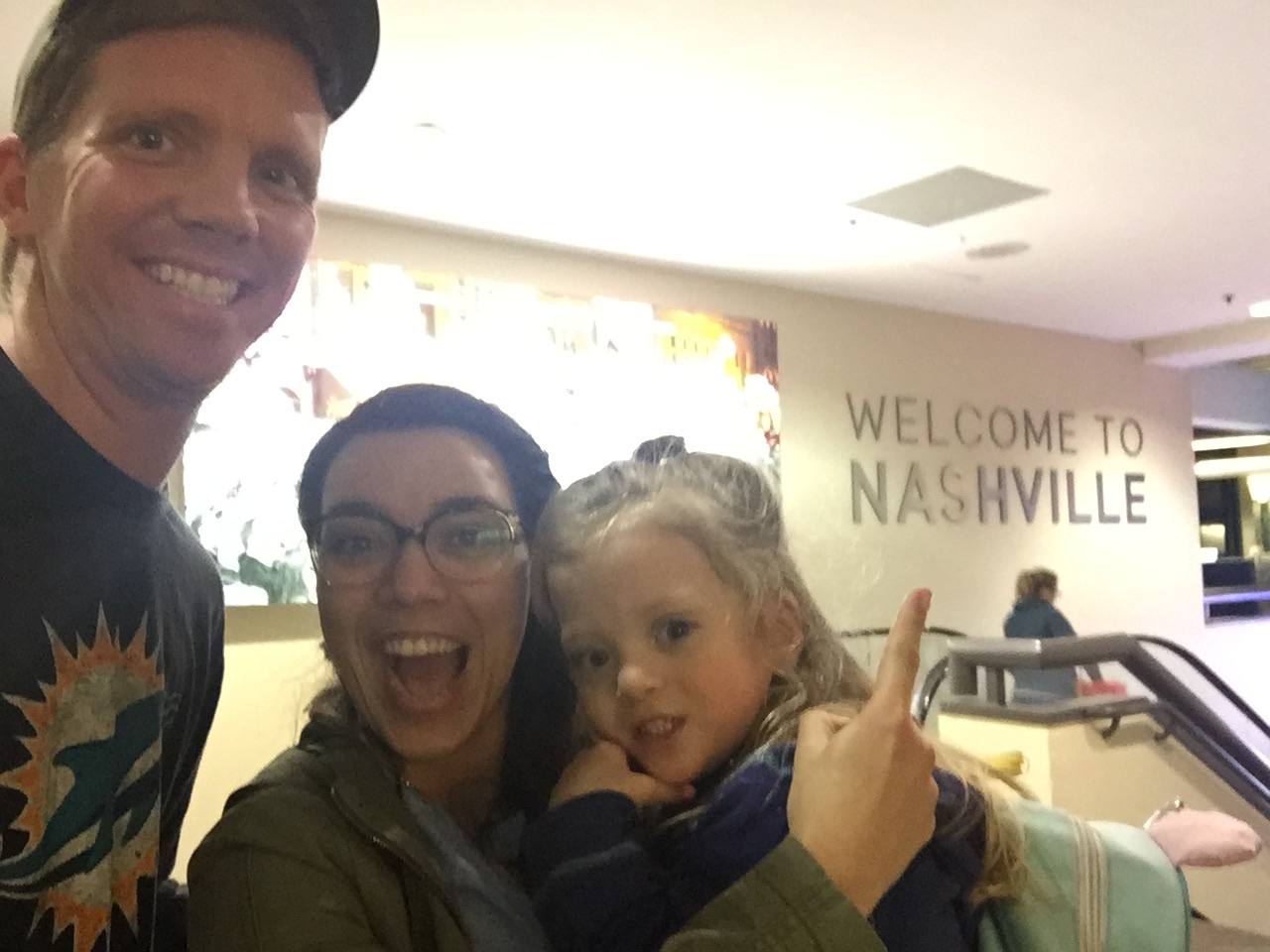 """After 15 hours. We made it! Hello, Nashville! Lucie would call it, """"Nashville-y""""."""