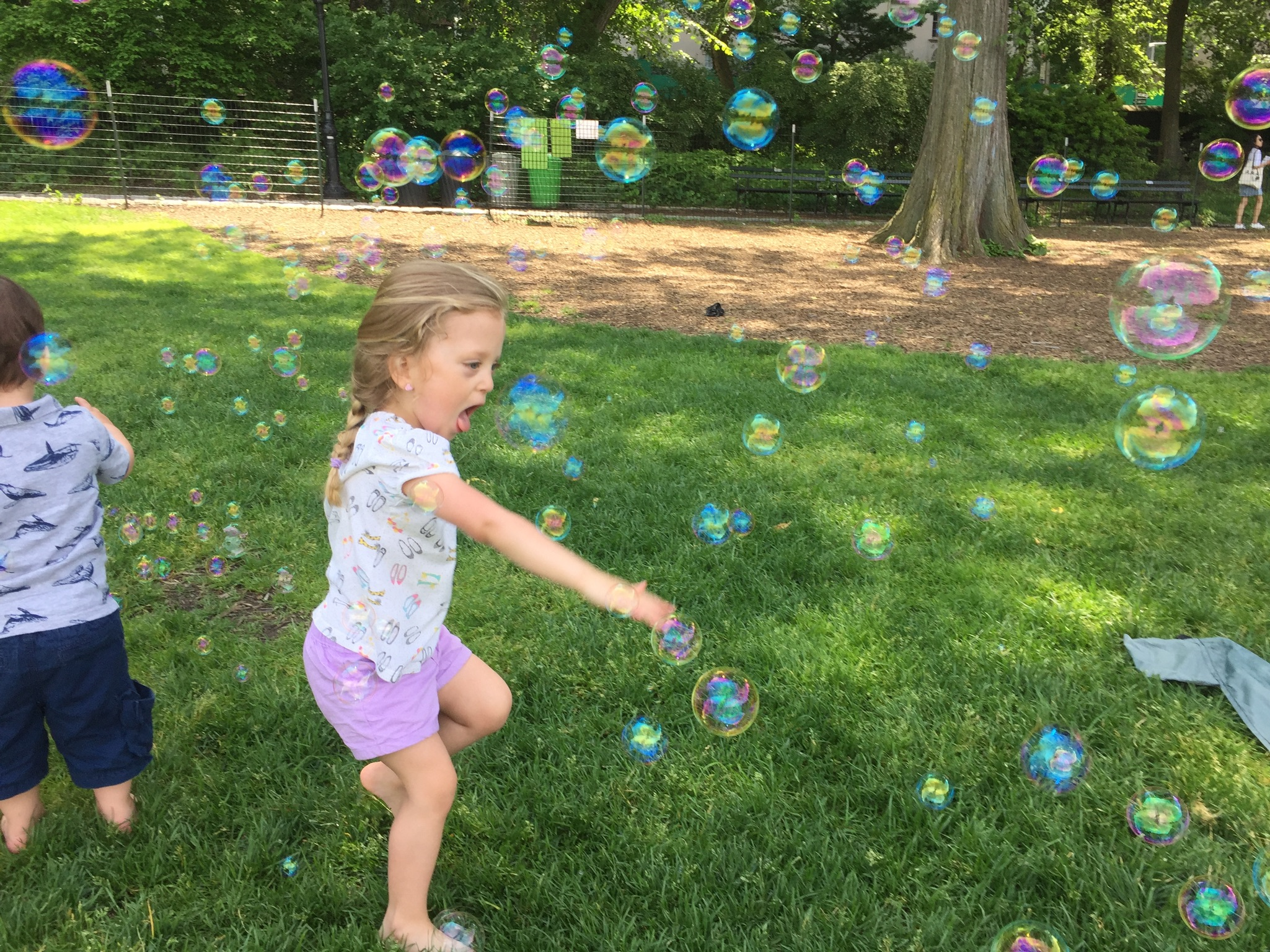 Someone had a bubble machine at the Park! What JOY!