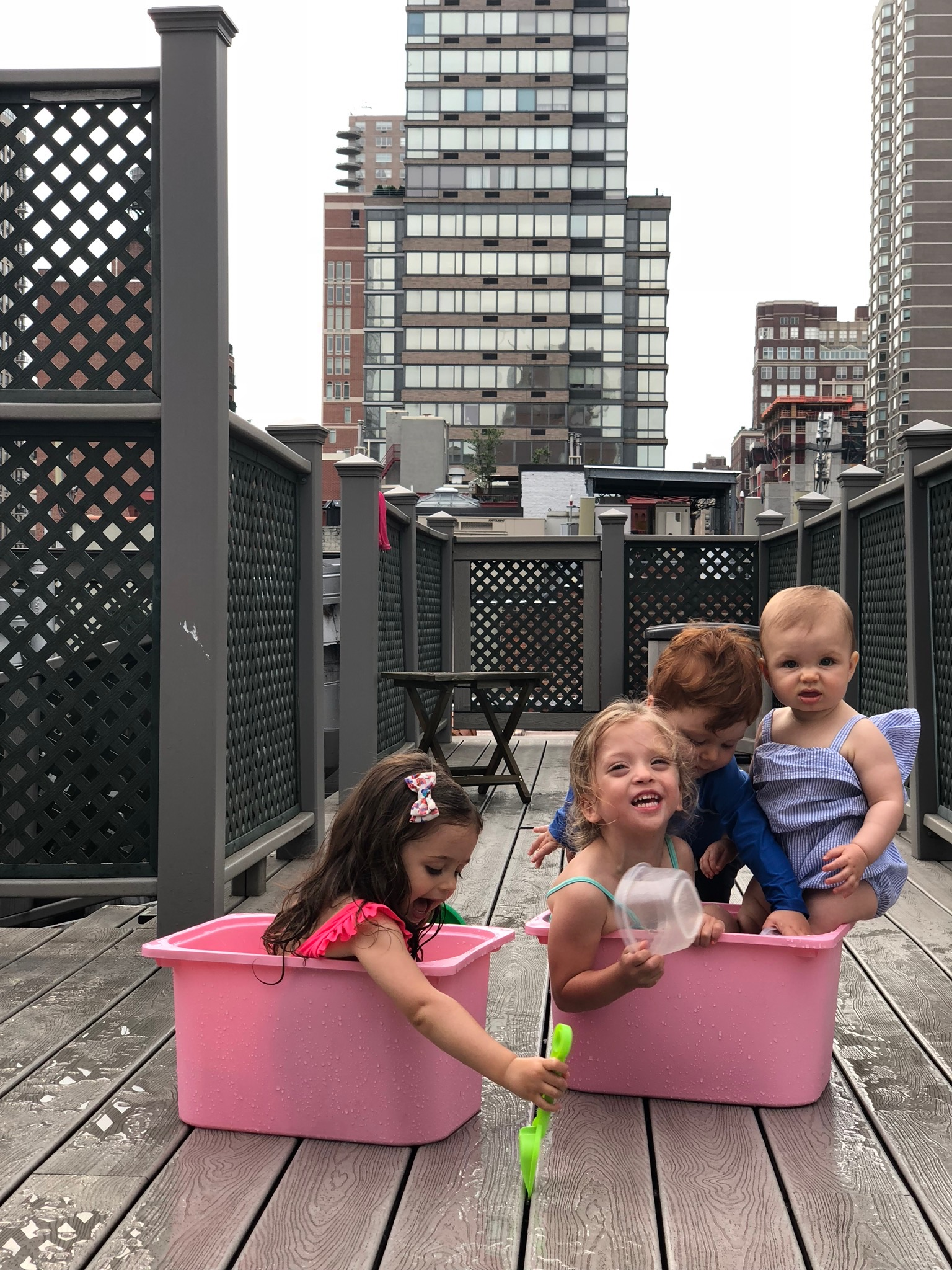 Later that evening we hung out on the Thomases rooftop and cooled off with water and buckets!