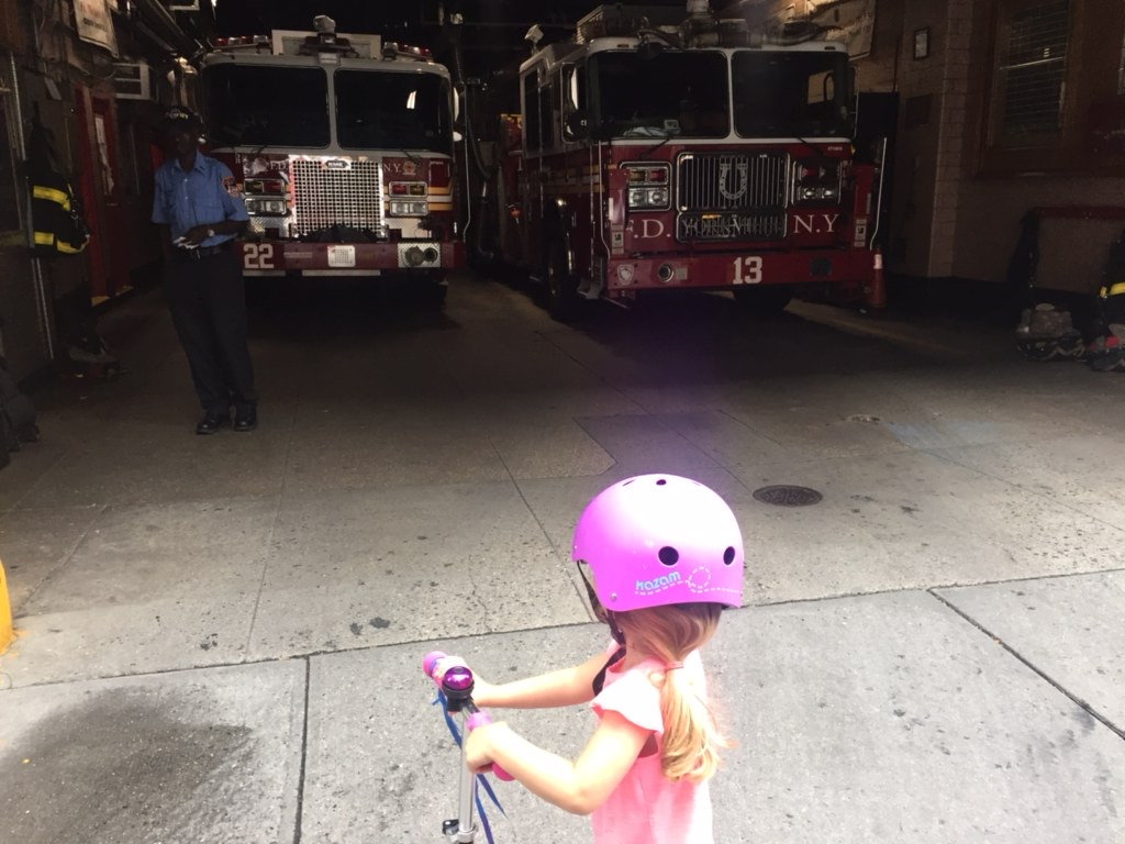 Rob got to pick Lucie up from school one day, which he doesn' normally get to do. They went by our neighborhood fire house and she got to meet real fire fighters and sit in the truck!
