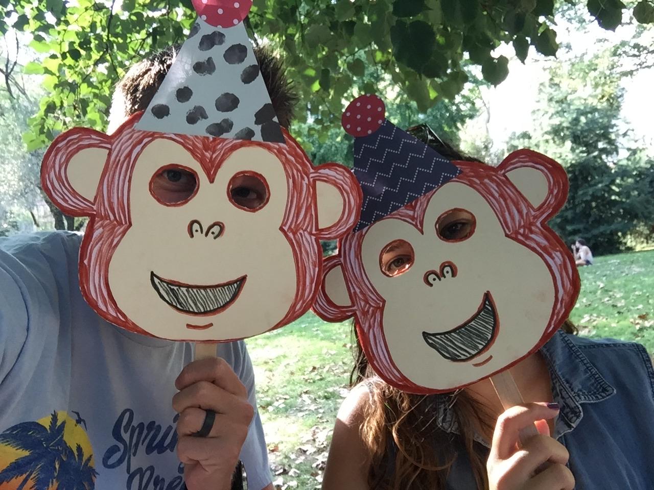 Two monkeys, monkeying around.