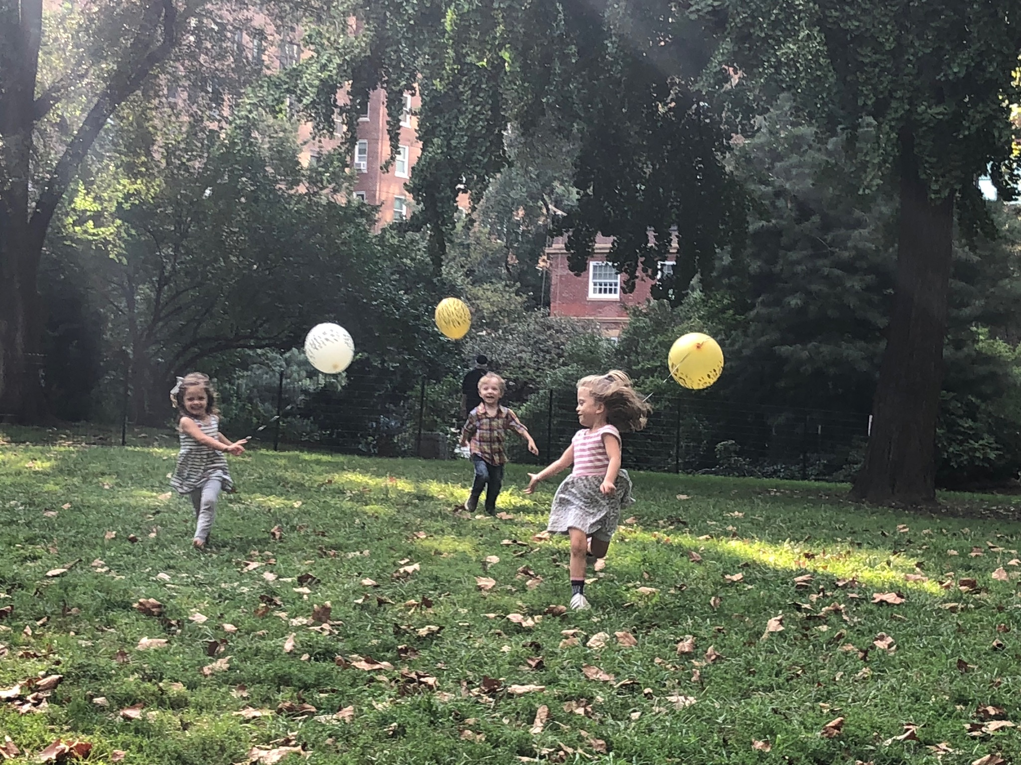 Elle, Nat, and Lucie running around at Nat's birthday party!