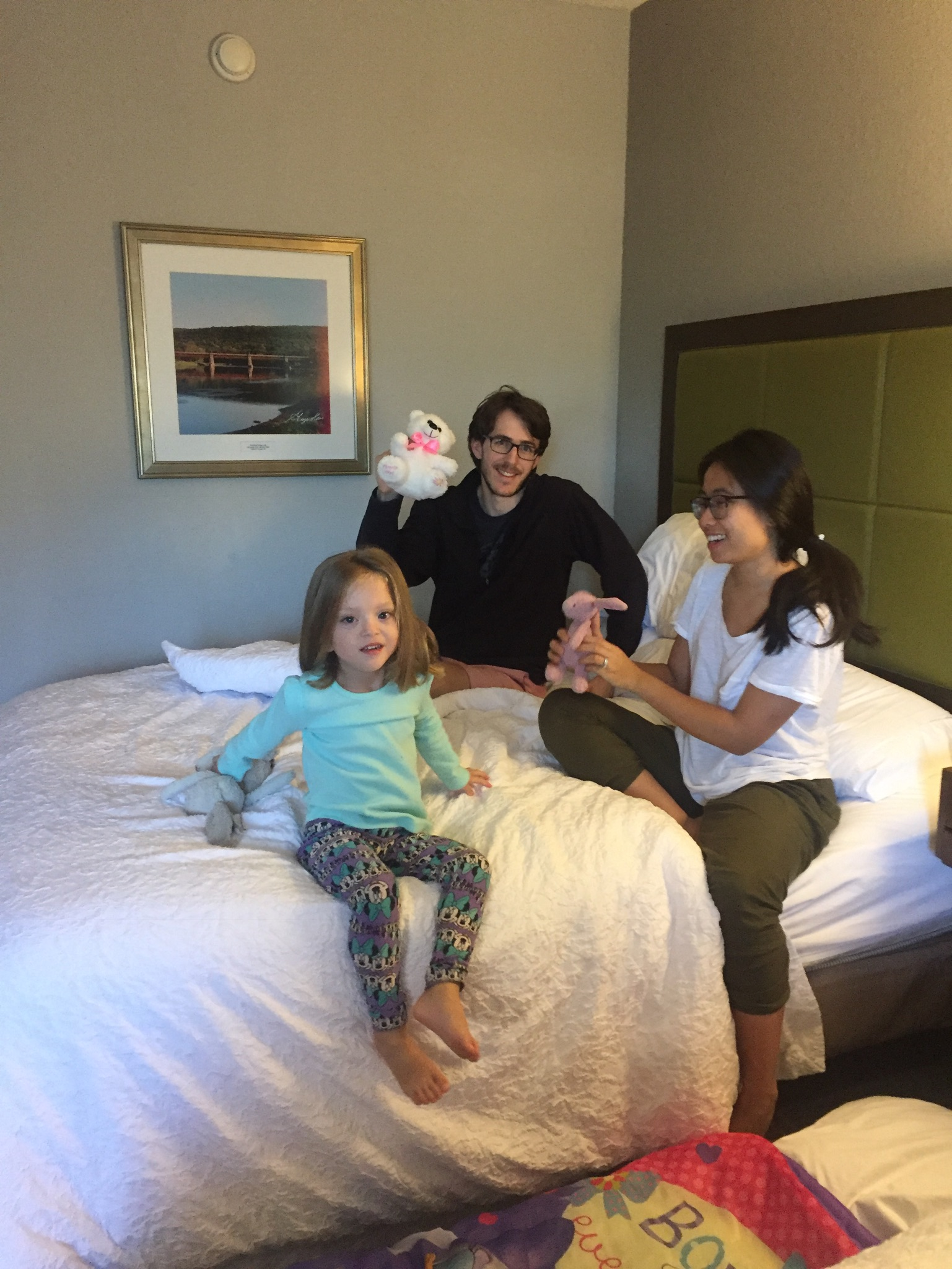 Being silly in the hotel with Uncle Dan and Aunt Sharon