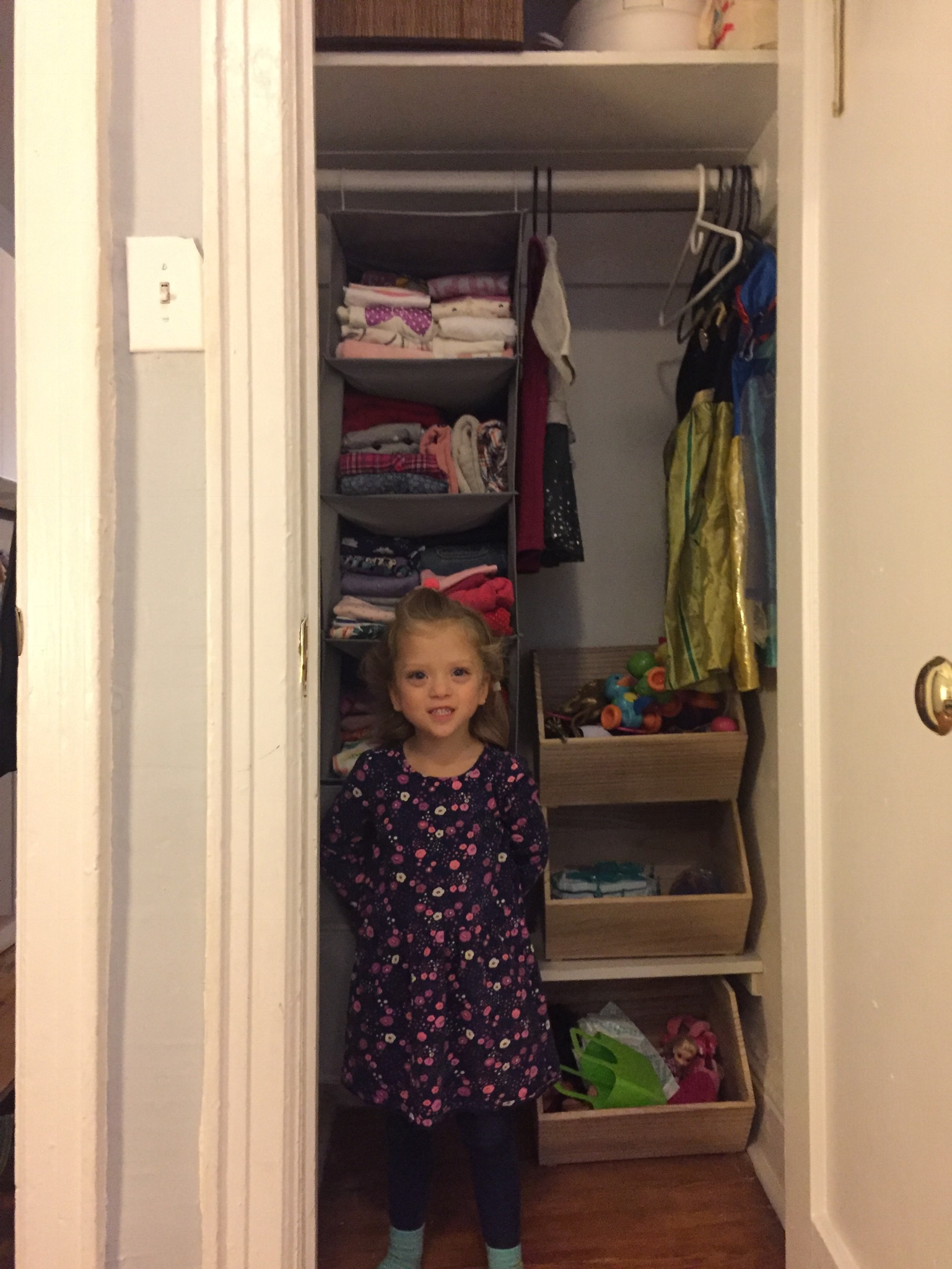 """Do I get my own closet?"" Such a funny thing to notice and request, but now that we flipped the apartment around it was an easy accommodation in Lucie's new room."