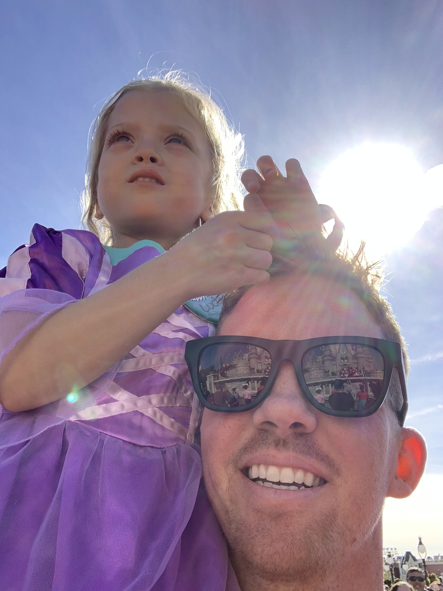 Best seat in the house: Daddy-O's shoulders!