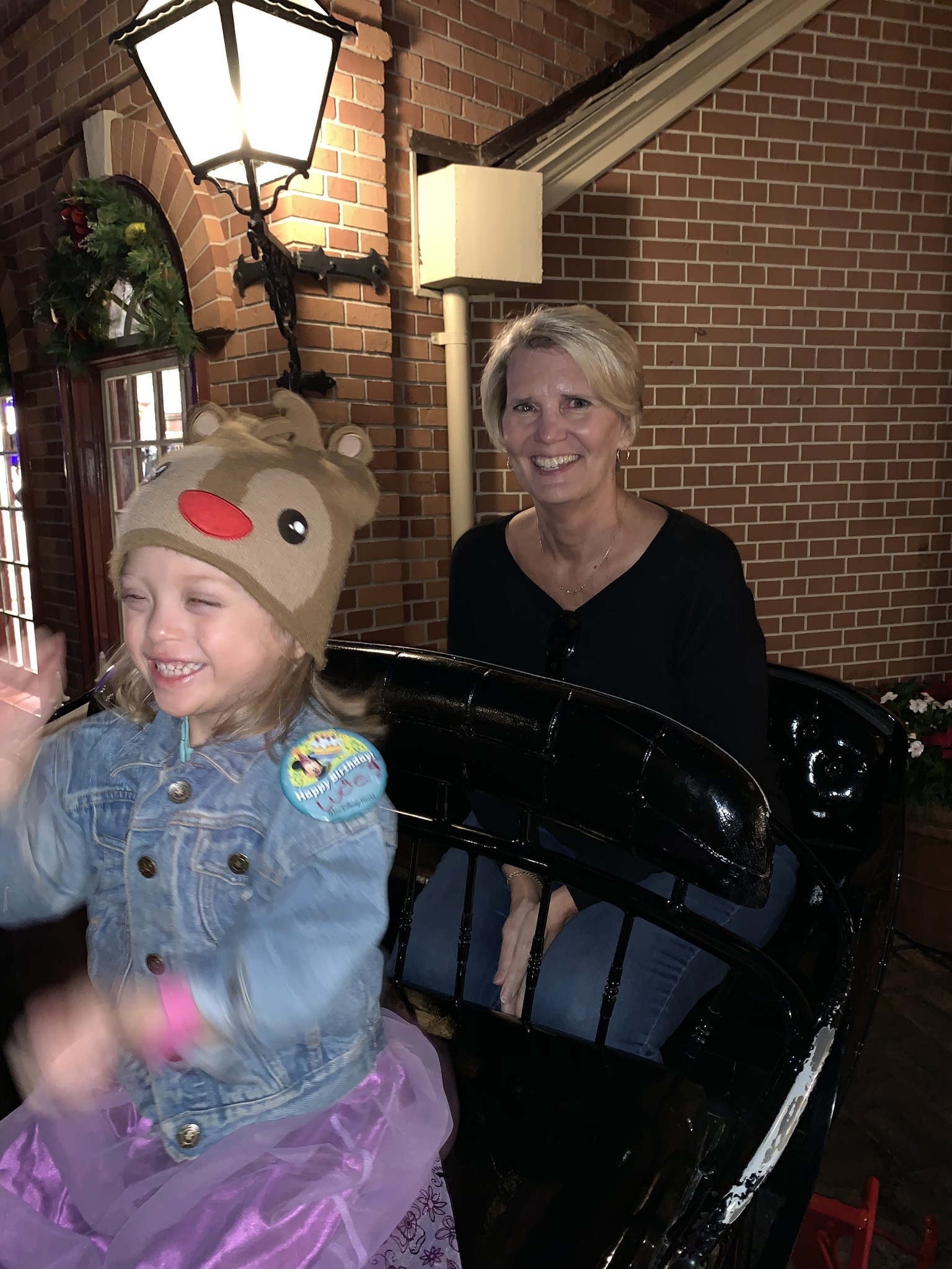 Sleigh Ride with grandma outside of the Christmas shop.