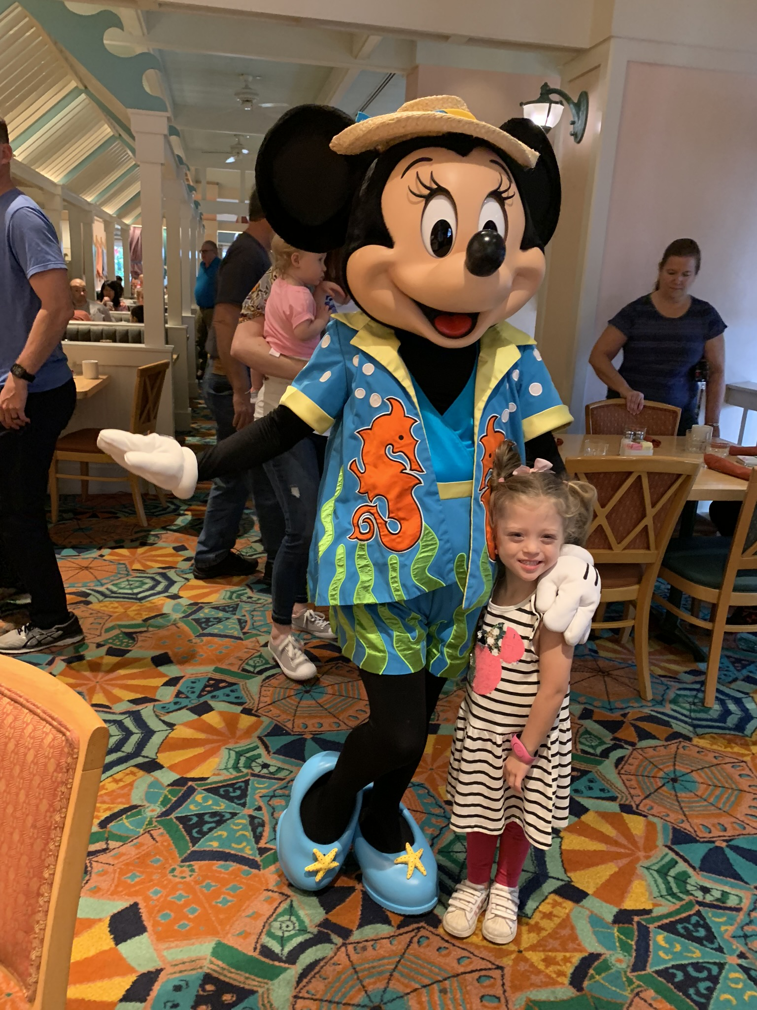 """MINNIE!!! Before the trip, we told Lucie that we would write Lucie a letter to ask if we could go to Disney for Lucie's birthday and then opened a gift from """"Minnie"""" with a card and the magic bands, so it was really fun for them to get to tell Minnie that story with Lucie."""