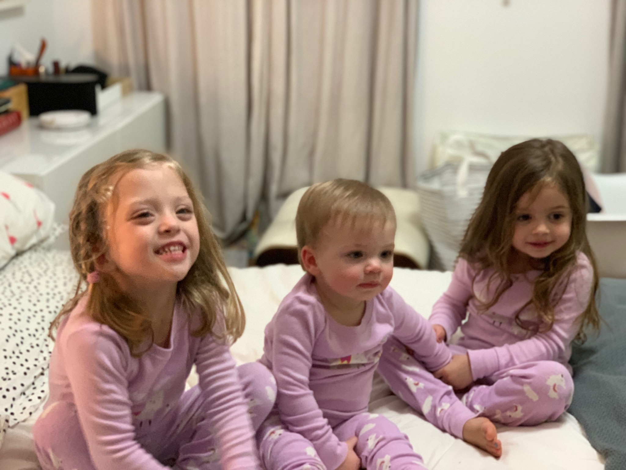 New Year's Eve with the girls in matching PJ's