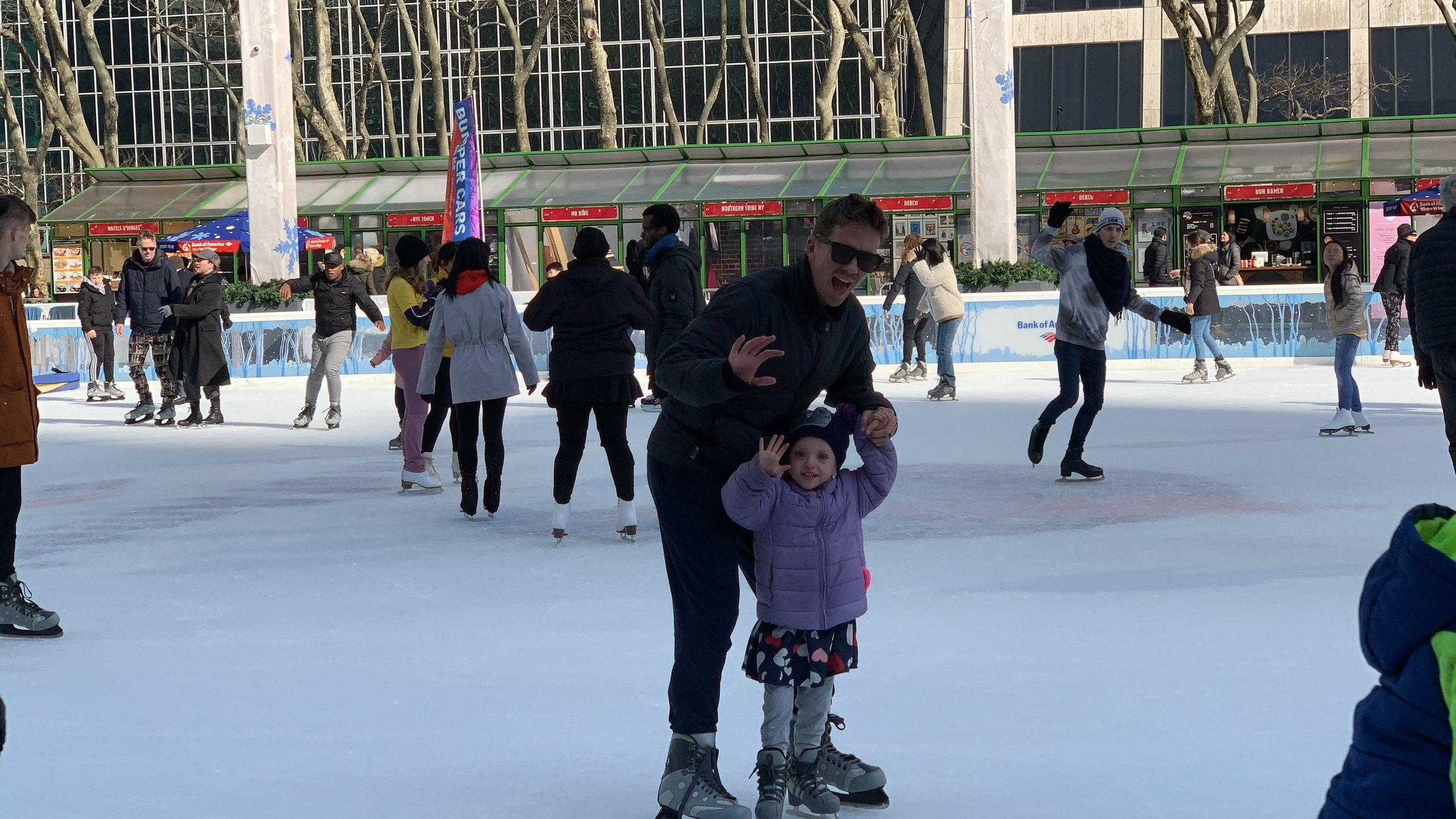 Ice skating during Lucie's break