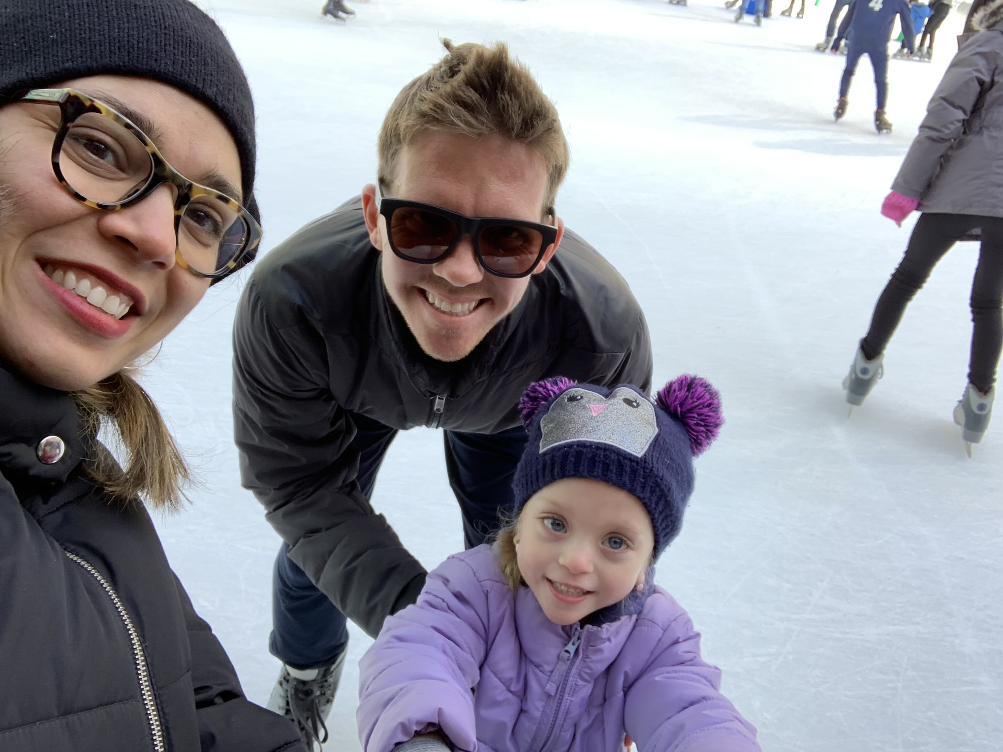 We had a lot of fun. She got very brave and needed less and less support with each loop around the rink. She only fell on her bottom once - at the very end, oh well!
