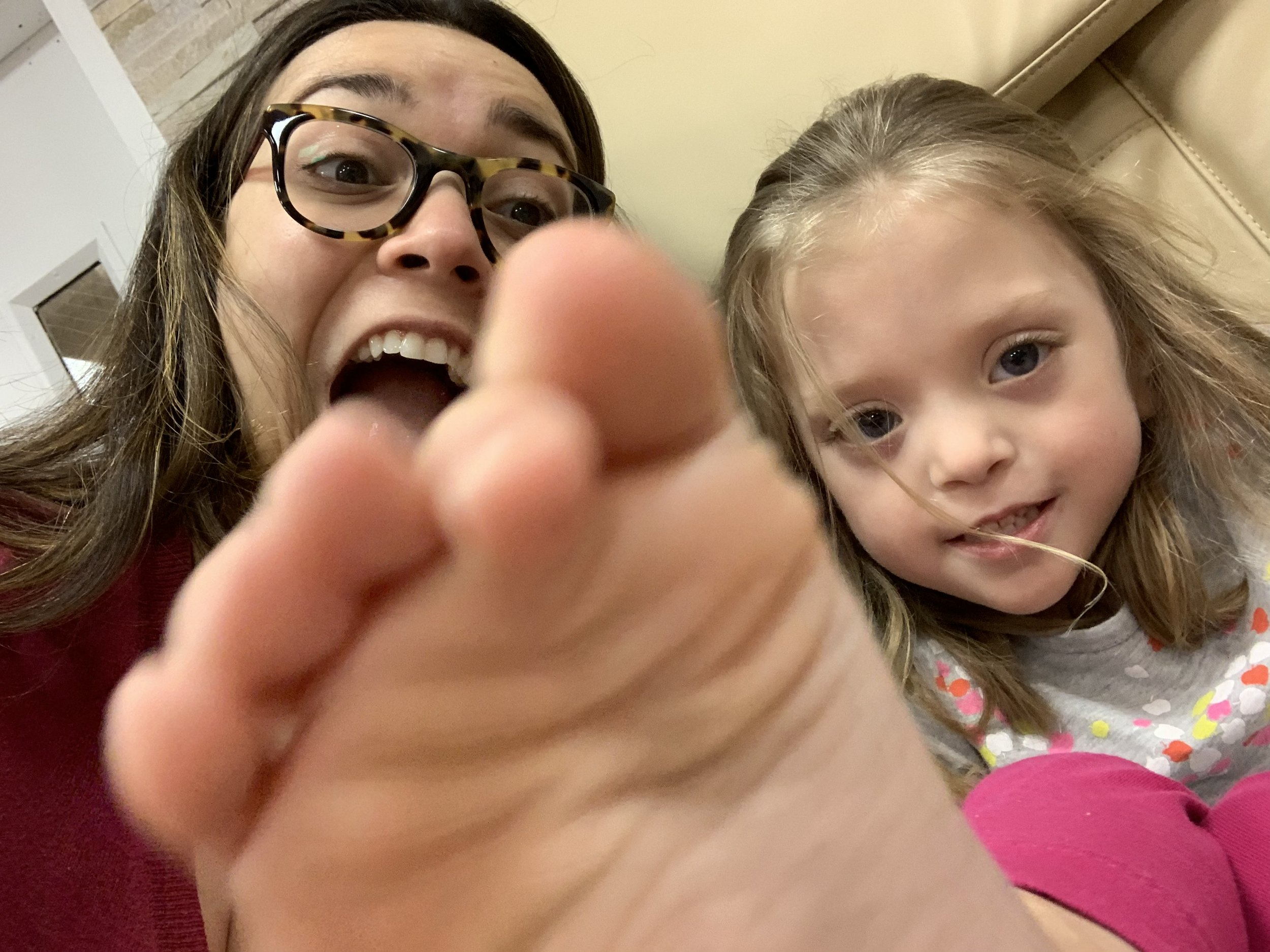 "Then Mommy and Lucie got our ""foot nails"" painted at the  real  nail salon"