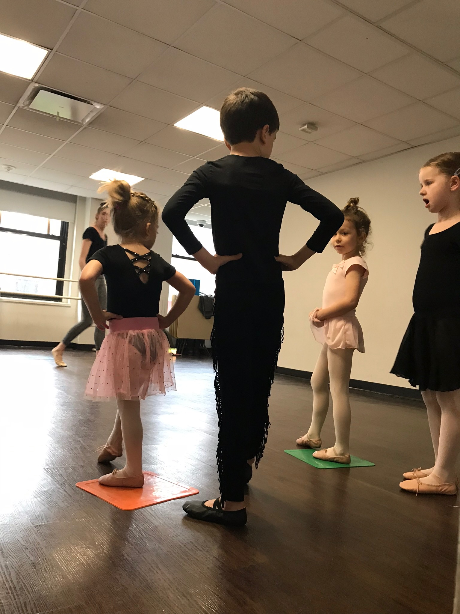 Lucie getting to be line leader in ballet class for the first time!