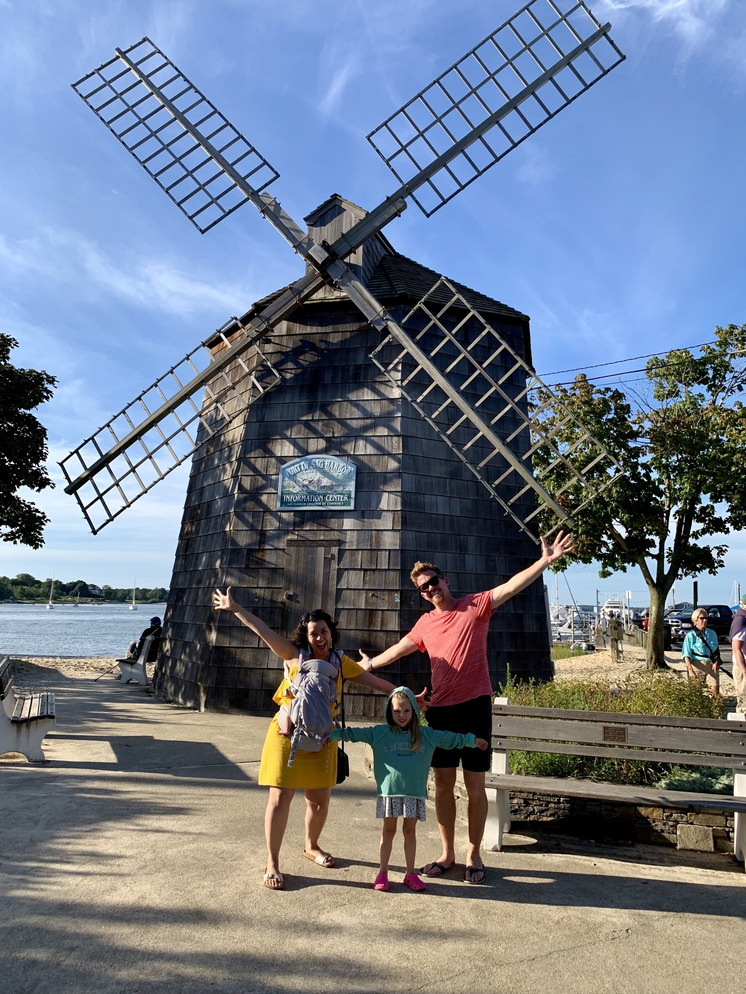 Making silly faces in front of the Sag Harbor windmill