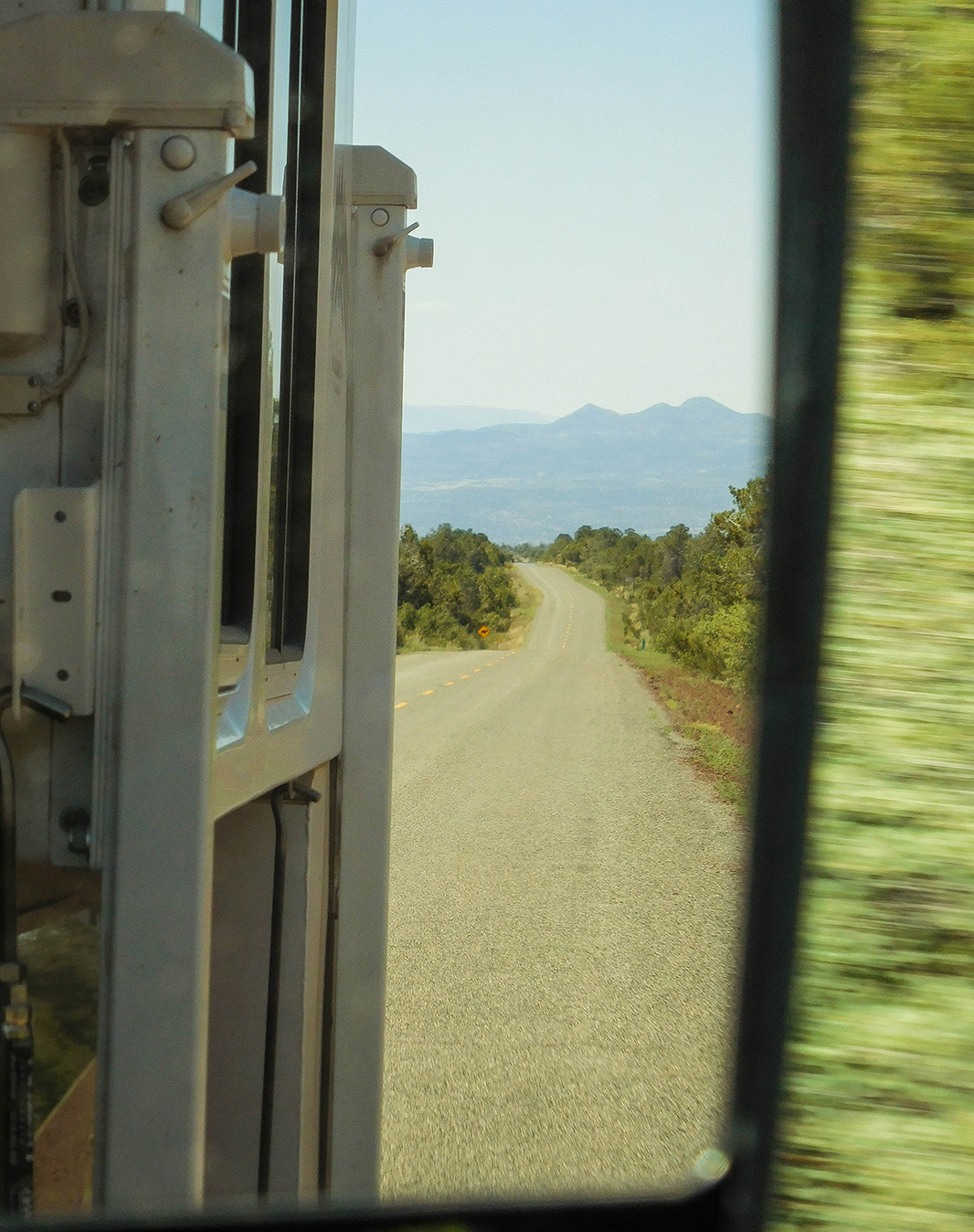 Joni looks back to the Verde Valley and the mountains beyond.