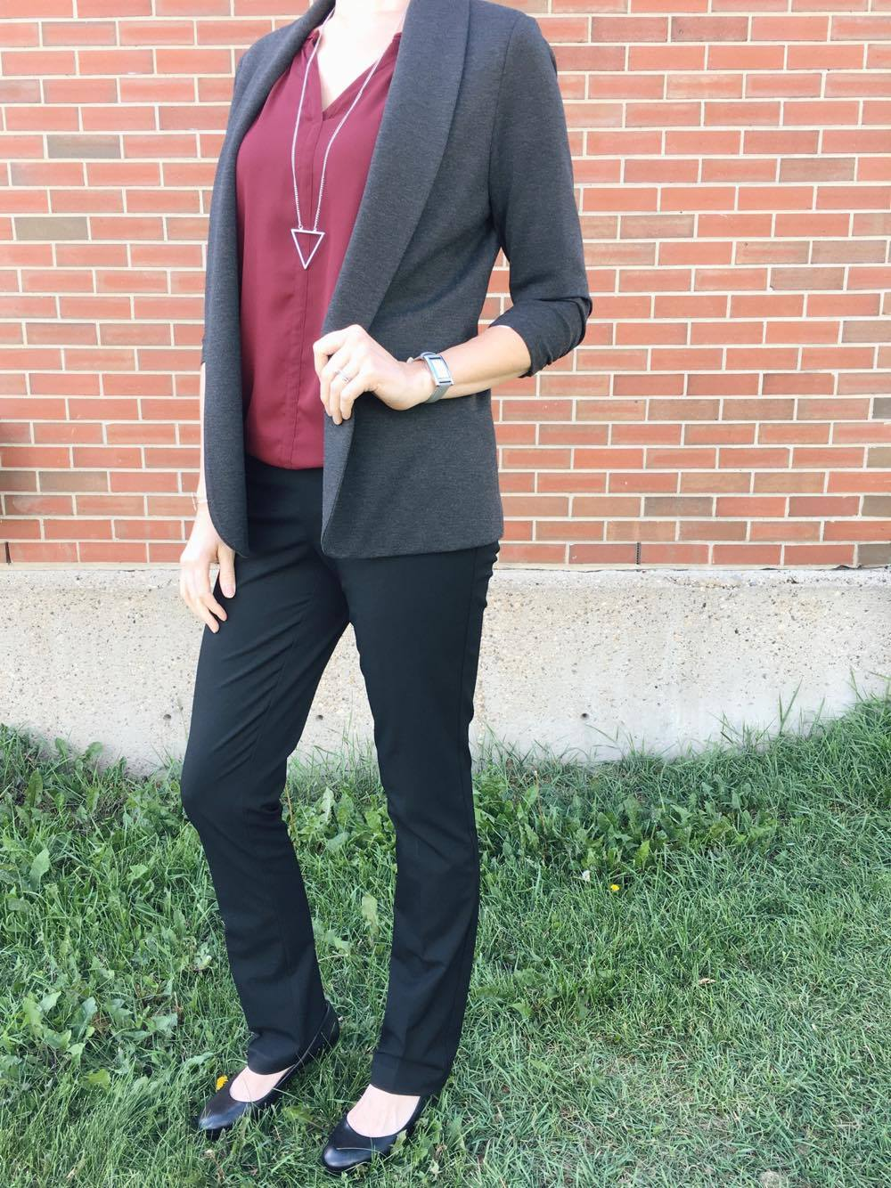 Add our Lisette blazer to a sleeveless blouse to transition your outfit from summer to fall!