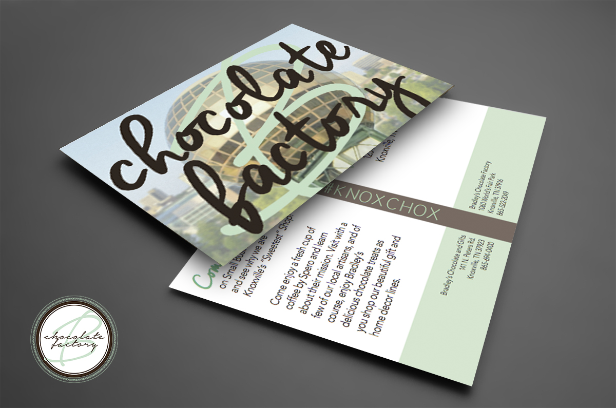Bradley's 5x7 promotional mailer - created in Adobe InDesign- class project