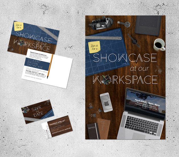 Student Showcase Poster + Postcard + Save the Date created in Photoshop & InDesign