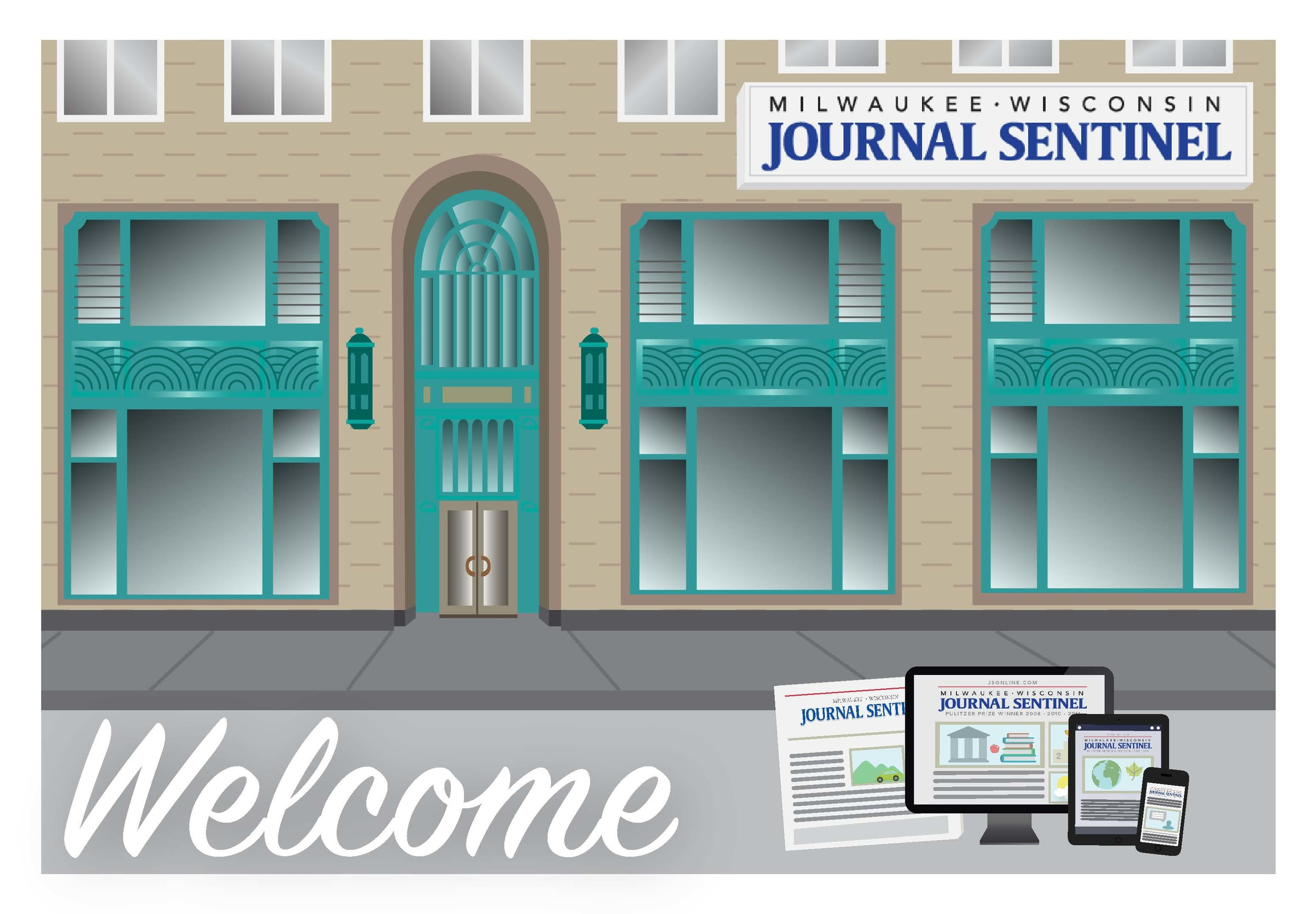 Illustrated welcome postcard for the Journal Sentinel
