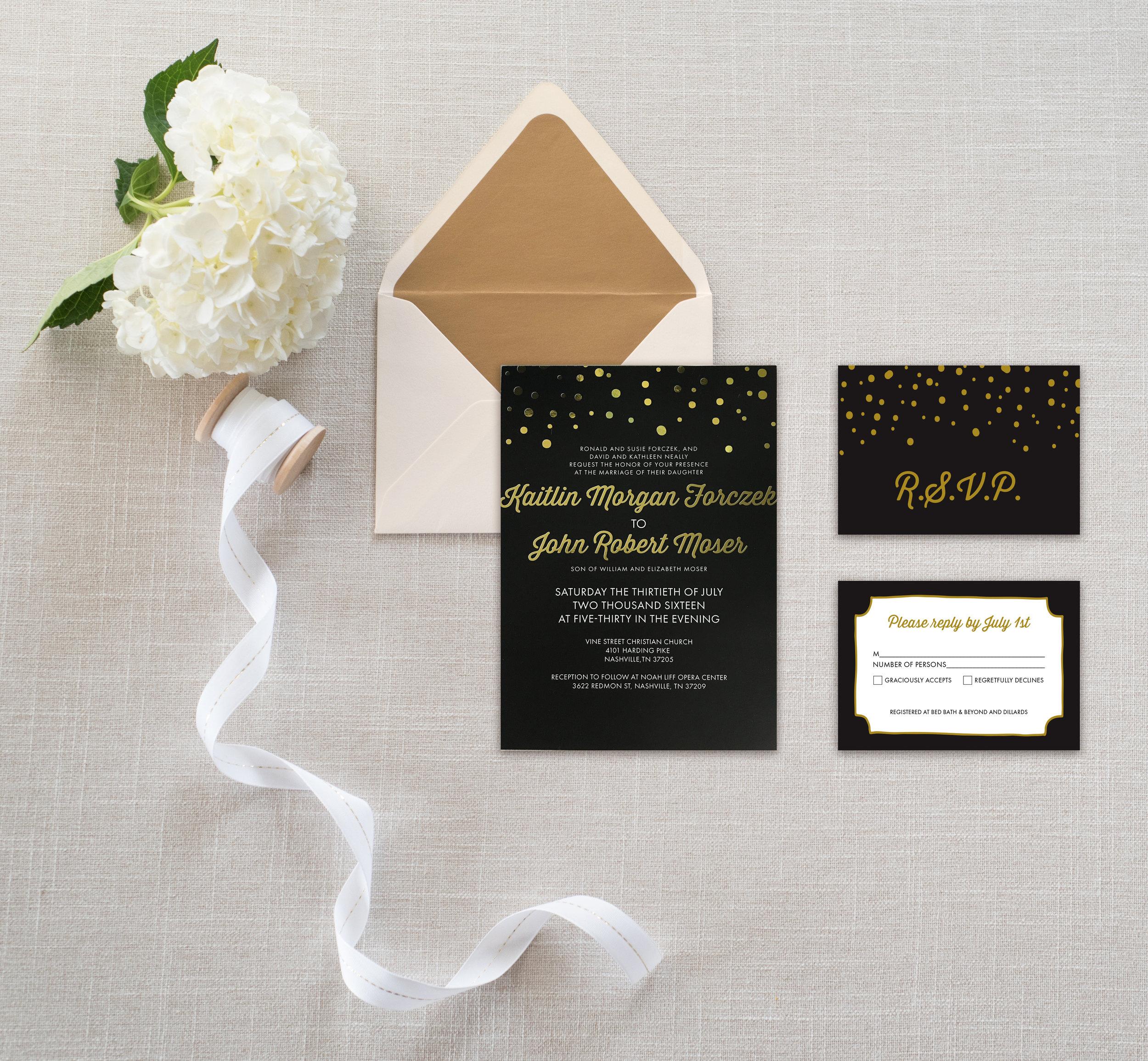 gold foil wedding invitation design knoxville