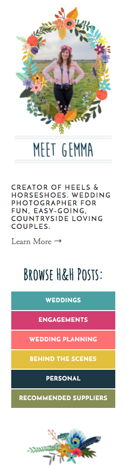 Above: Gemma's new blog sidebar with category links