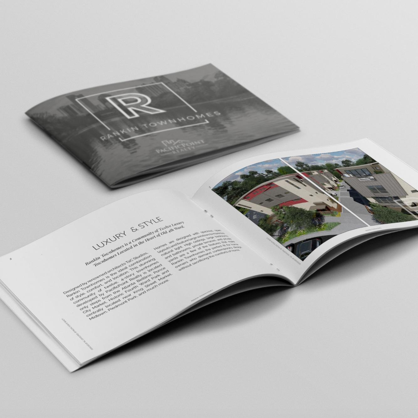 Property Lookbook - Brochure with amenities, floor plans, upgrades, neighborhood information and Agent/Contact information. $300-$400