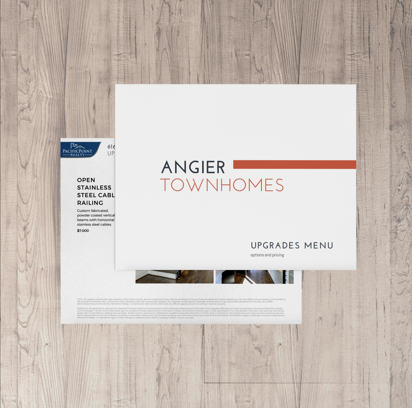 Amenities/Upgrades Sheet - Cover Design, Upgrades page(s), Agent/Contact information. $50-$100