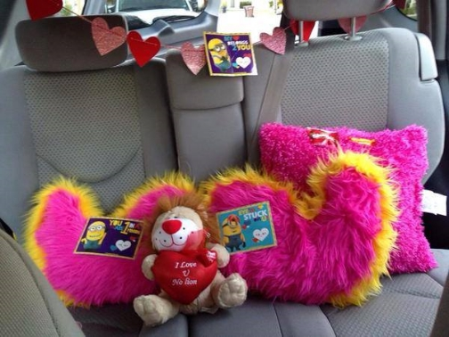 """Soraya, a driver in San Diego, made her car """" Lovetacular """" for Valentine's day."""