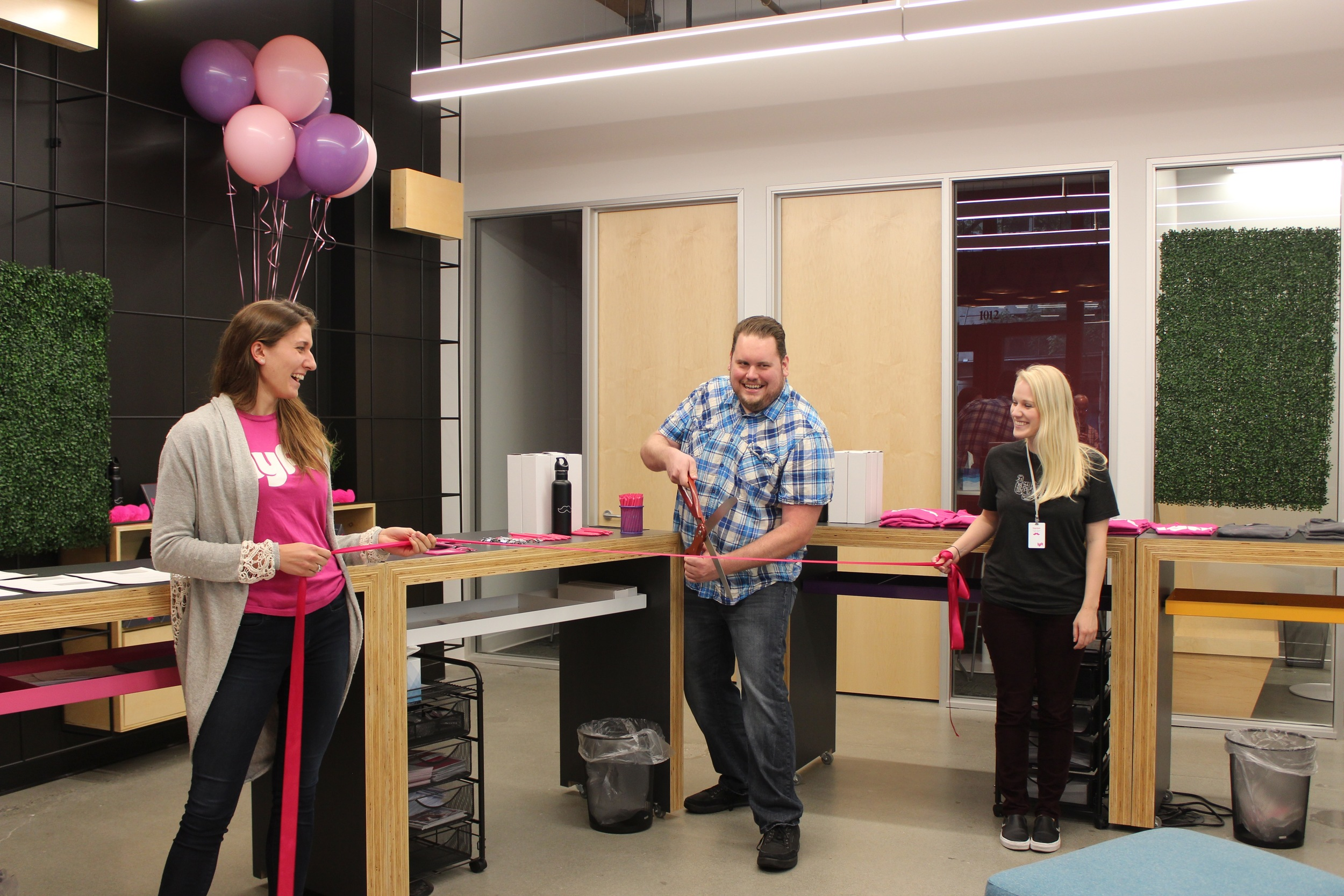 The Seattle team was all smiles during the official ribbon-cutting event.